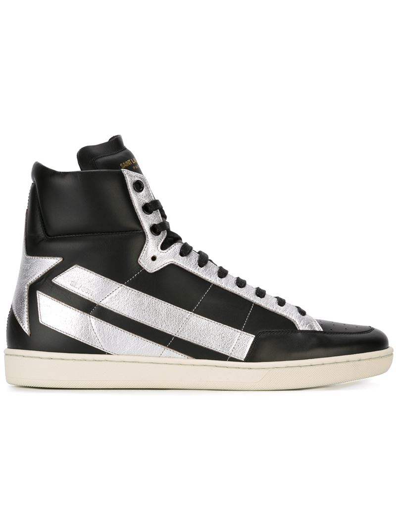 saint laurent 39 court classic 39 sneakers in silver for men black save 40 lyst. Black Bedroom Furniture Sets. Home Design Ideas