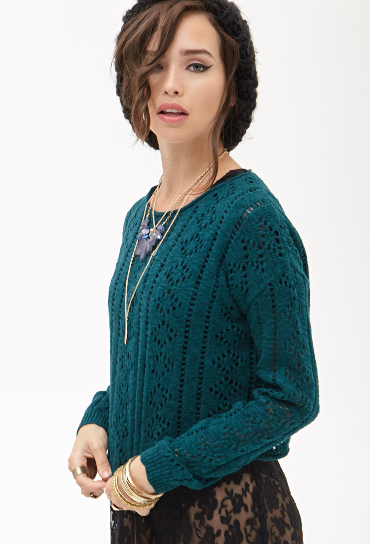 0ca05b77c Lyst - Forever 21 Boxy Open-knit Sweater in Blue