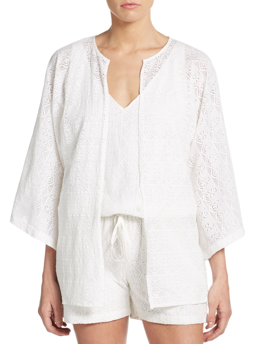 W118 by walter baker Holly Cotton Kimono Cardigan in White | Lyst