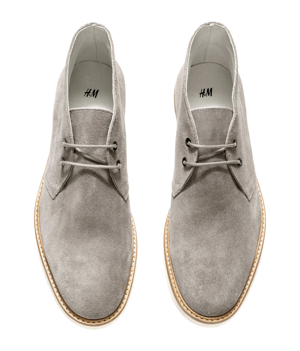 h m suede desert boots in gray for lyst