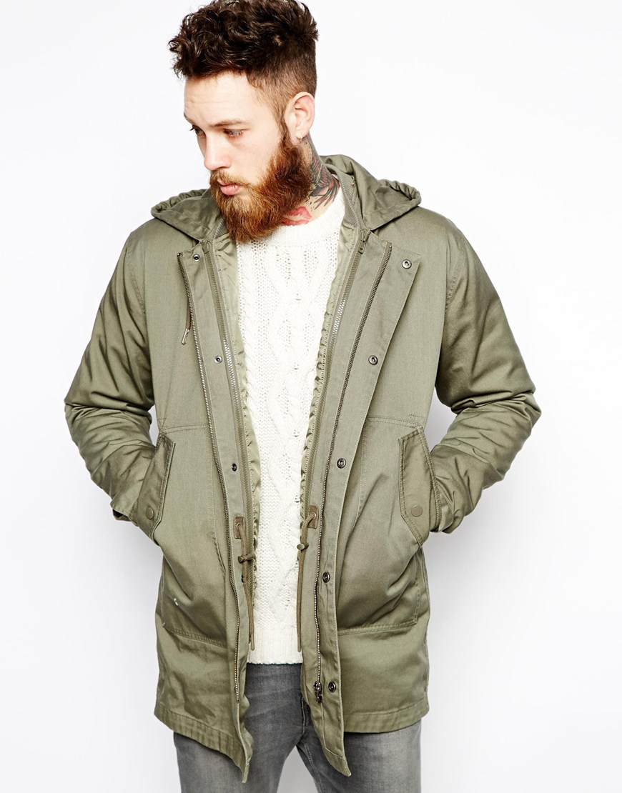 Asos 2 in 1 Fishtail Parka in Natural for Men | Lyst