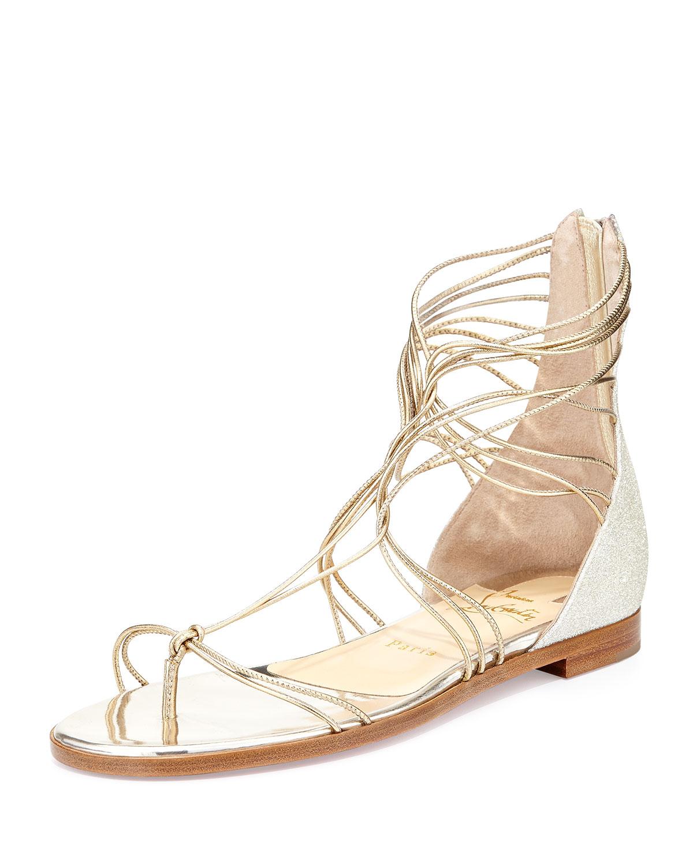 264ddb945221 Lyst - Christian Louboutin Blanca Metallic Gladiator Sandals in Metallic
