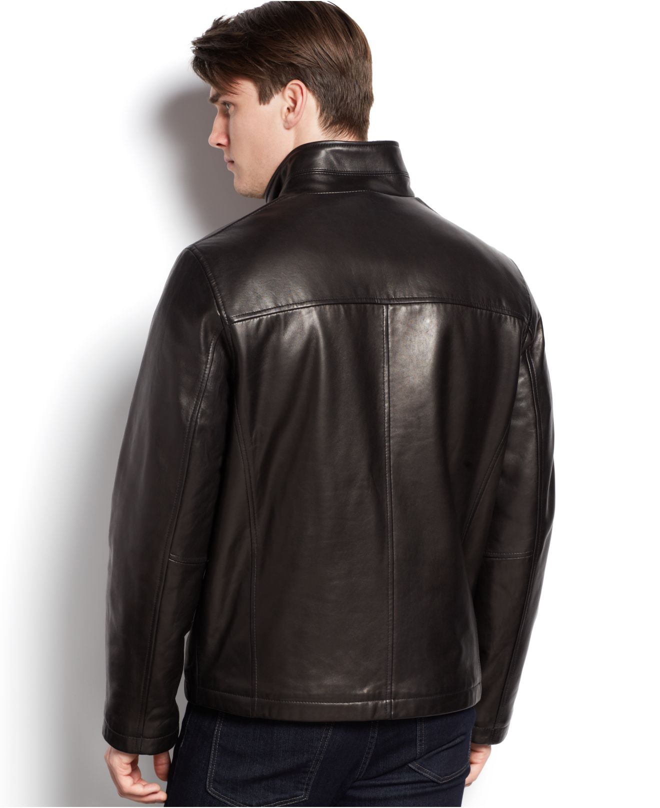 Cole haan Signature Stand-collar Leather Jacket in Black ...