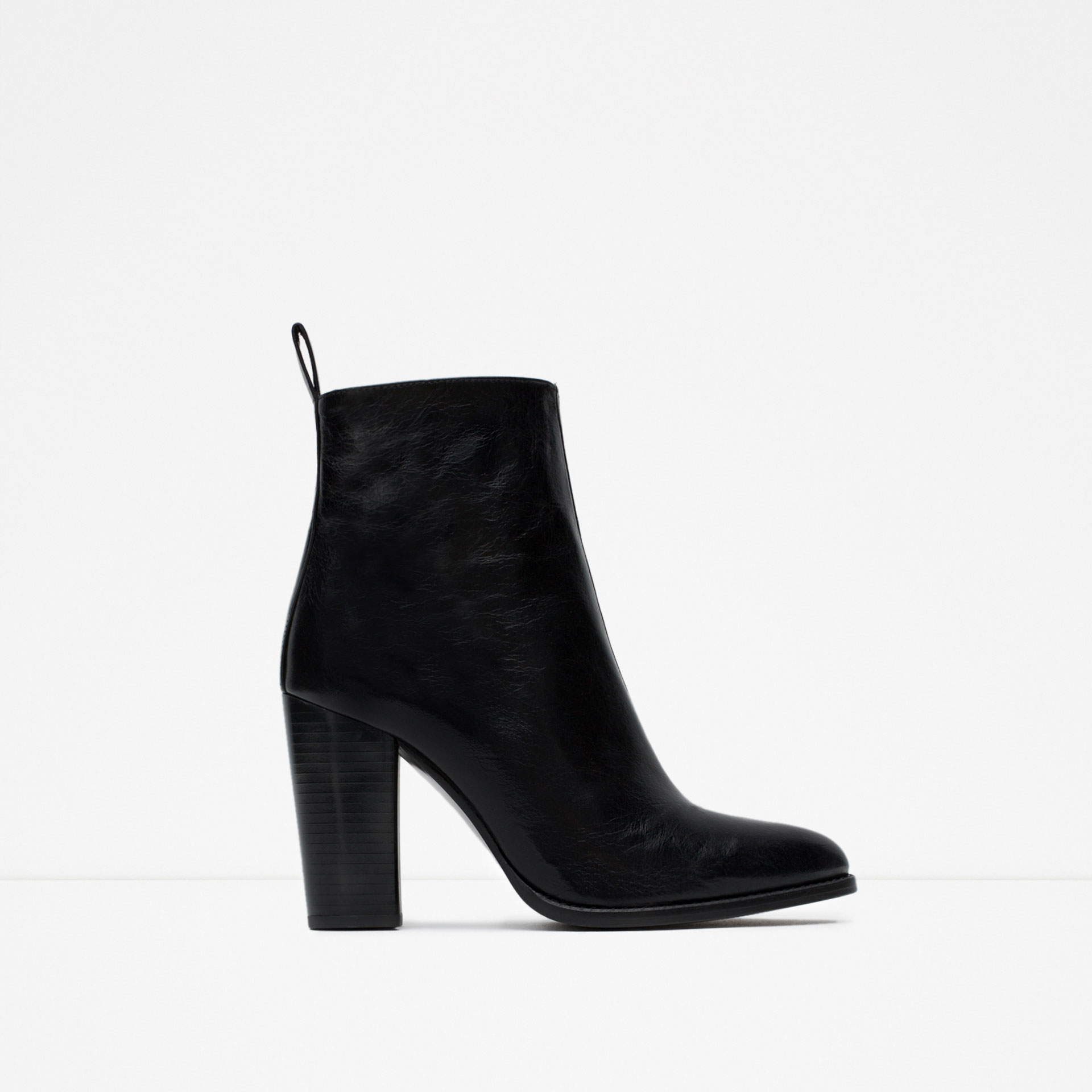 zara high heel leather ankle boots with pull tab in black
