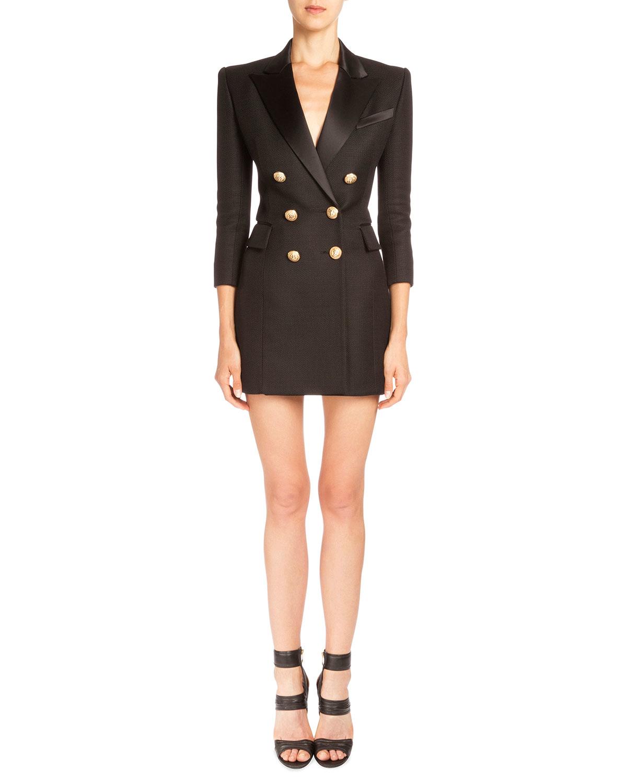 Lyst Balmain Pique Knit Double Breasted Blazer Dress In