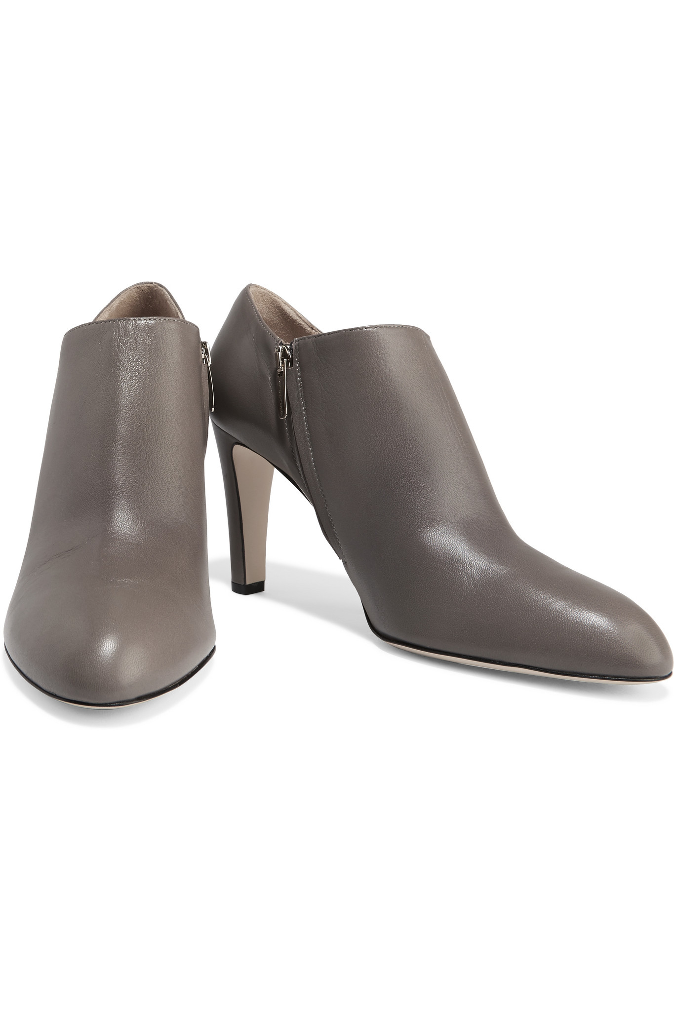 Sergio Rossi Leather Ankle Boots in Grey