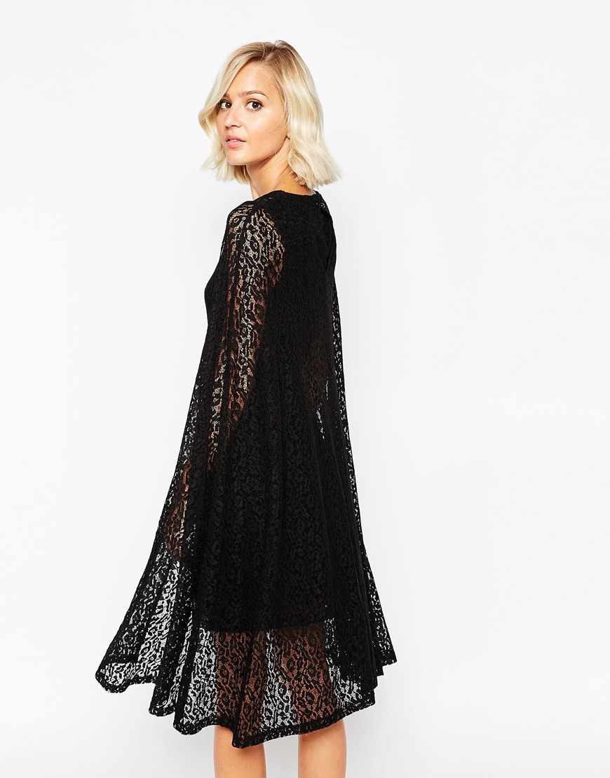 Lyst Lavish Alice Lace Cape Mini Dress In Pink