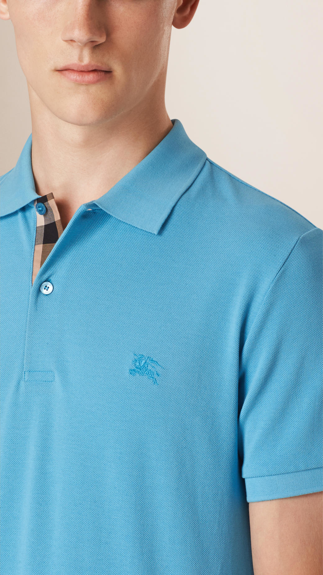 739025f68197 Lyst - Burberry Check Placket Cotton Piqué Polo Shirt Sky Blue in ...