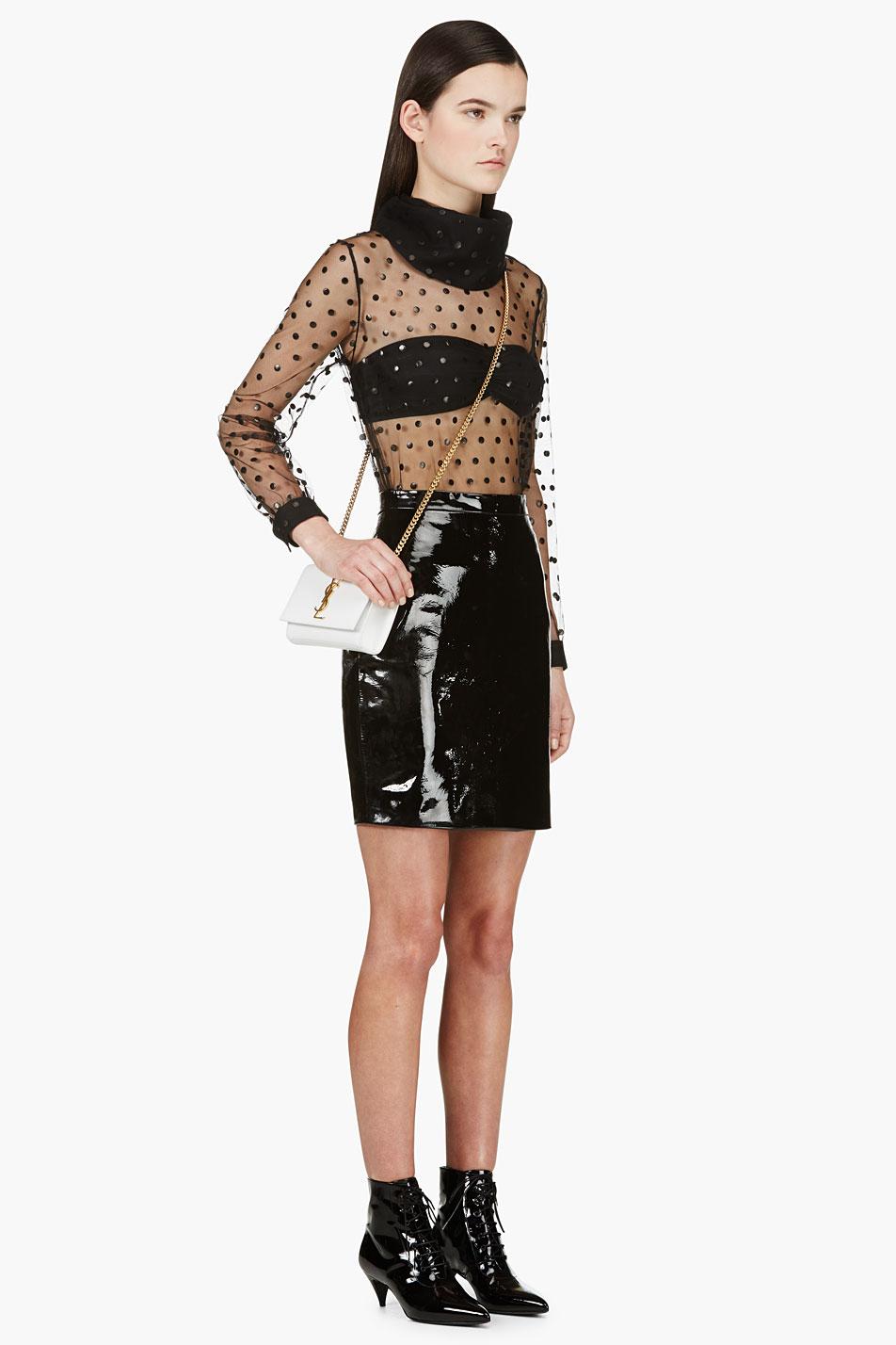 Saint laurent Black Patent Leather Mini Skirt in Black | Lyst