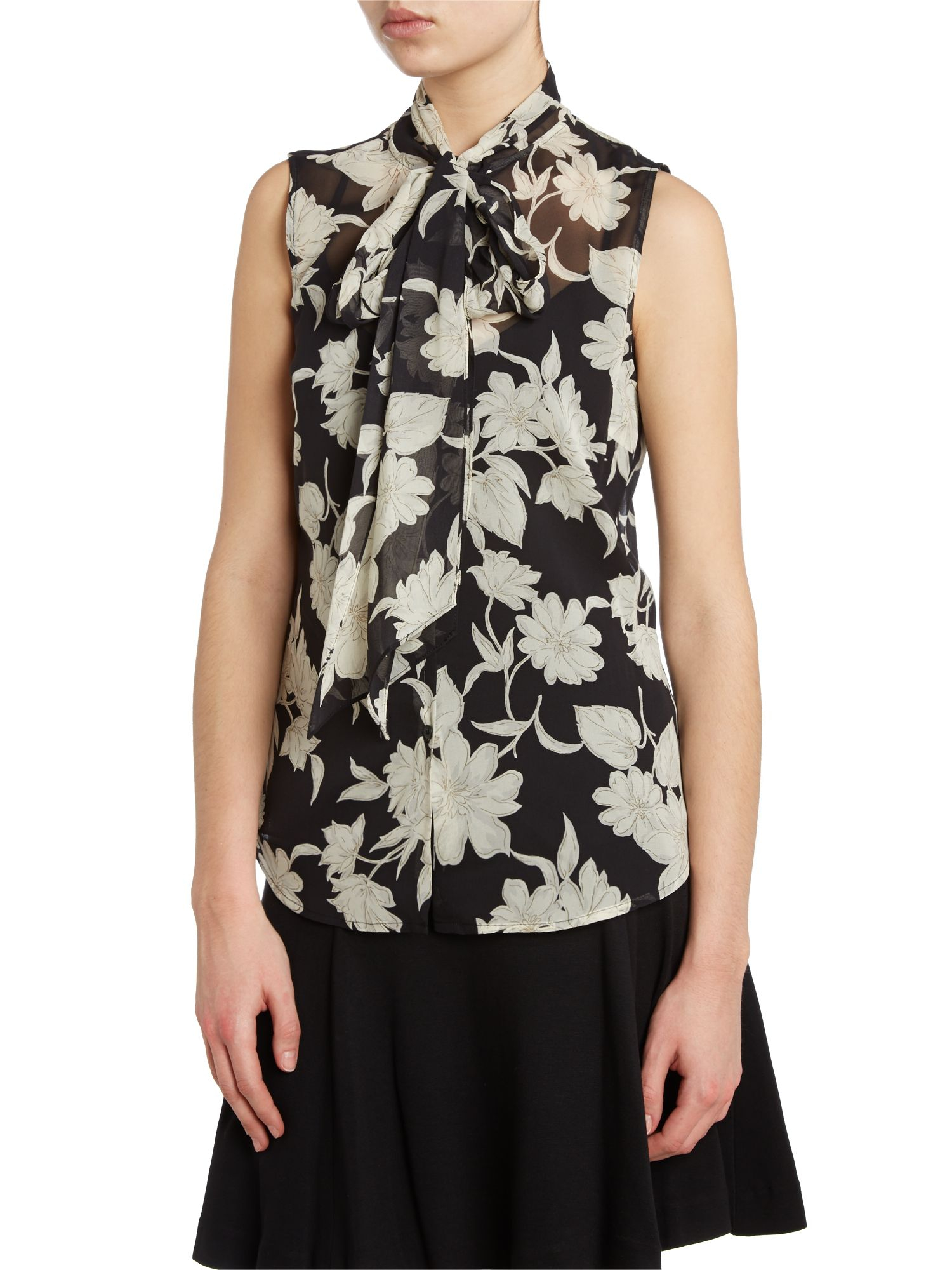 lauren by ralph lauren silk floral print blouse with tie neck in black lyst. Black Bedroom Furniture Sets. Home Design Ideas