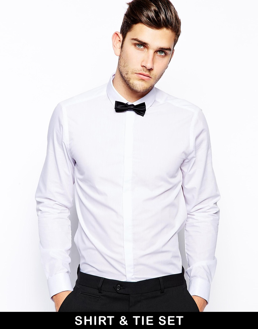 Lyst Asos Smart Shirt In Long Sleeve With Contrast Textured Collar
