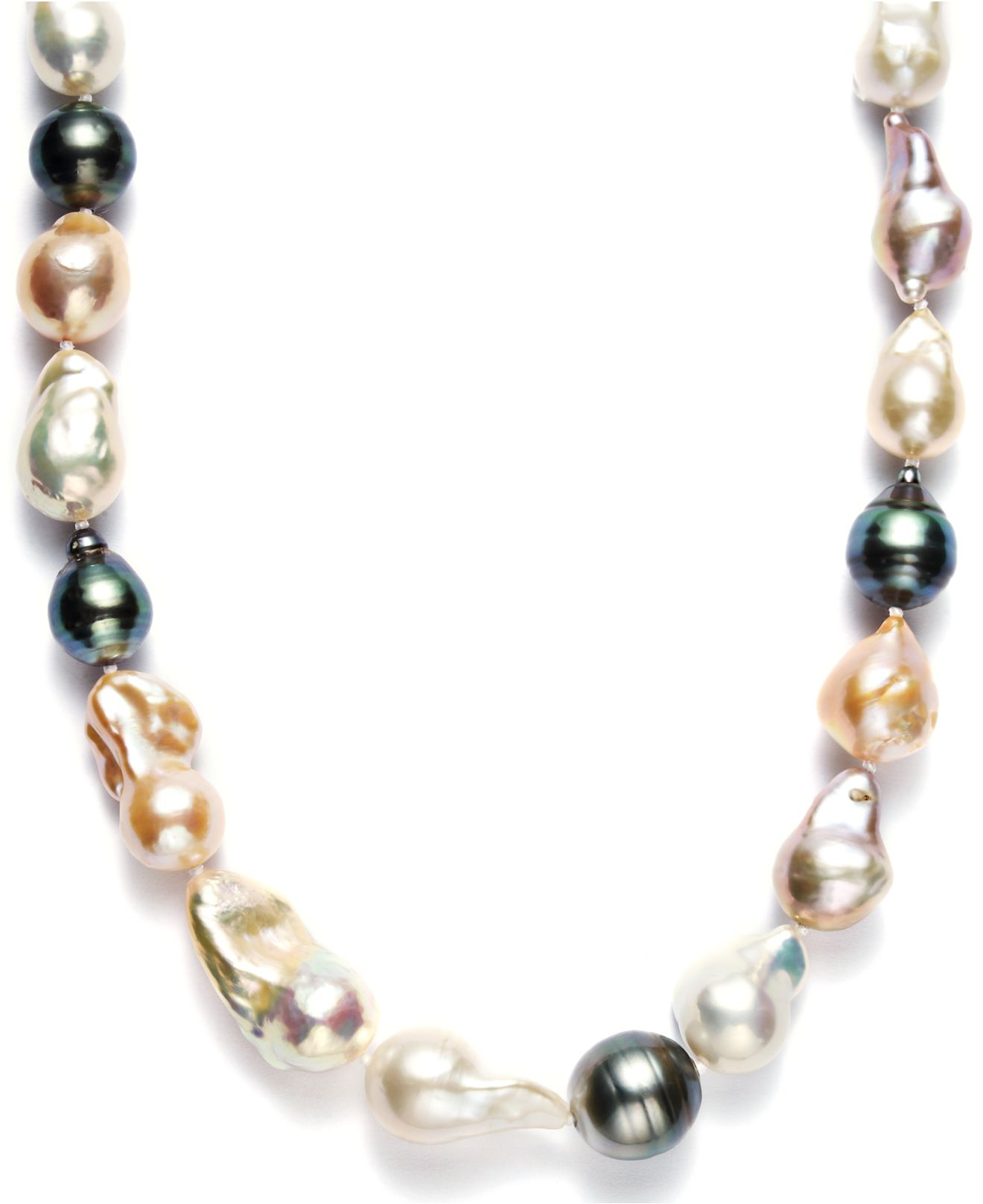 06007bf485f3a Macy's Pearl Necklace, Sterling Silver Cultured Tahitian And Multicolor  Freshwater Pearl Baroque Necklace (9-11mm)