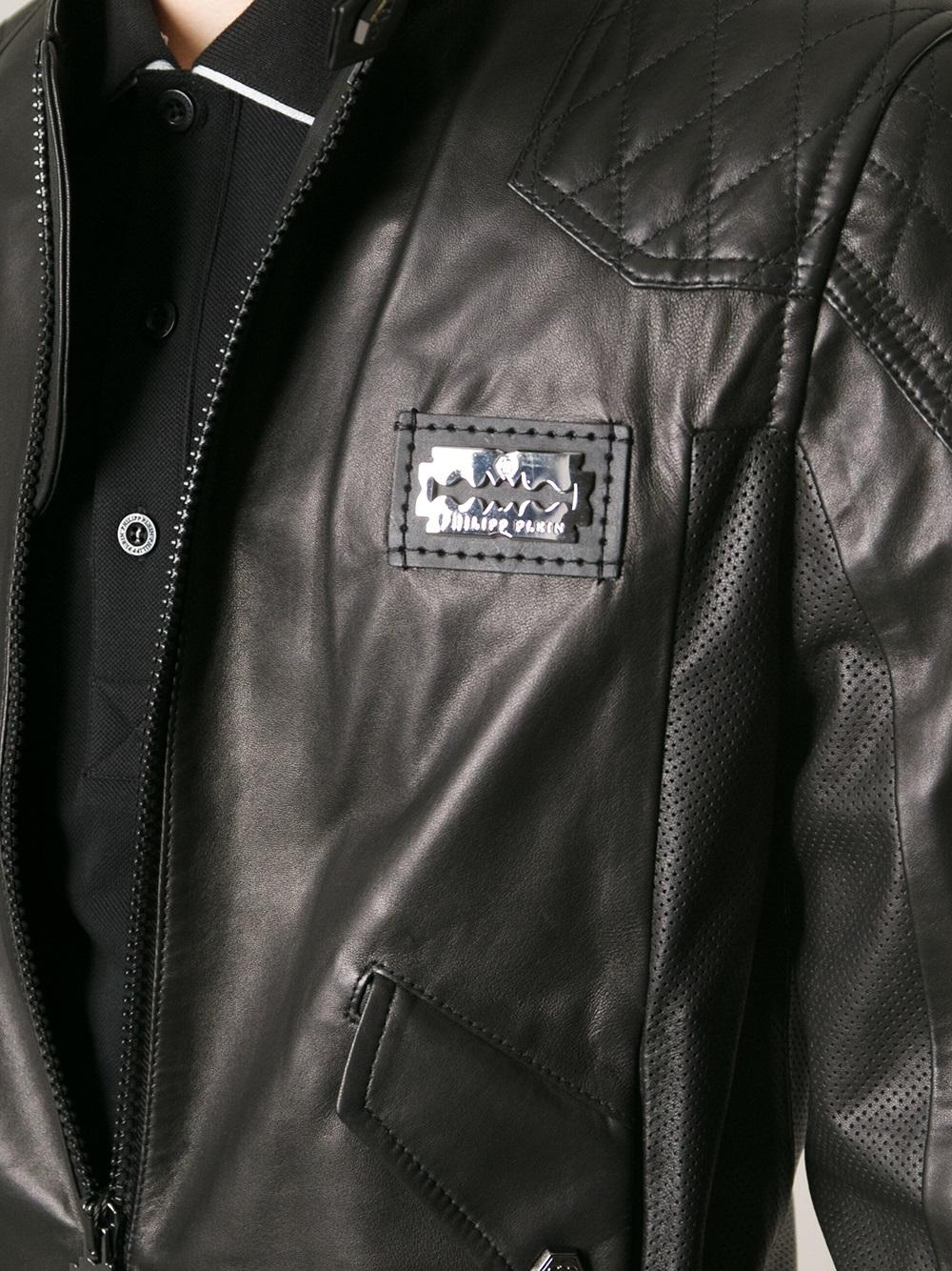 philipp plein leather biker jacket in black for men lyst. Black Bedroom Furniture Sets. Home Design Ideas