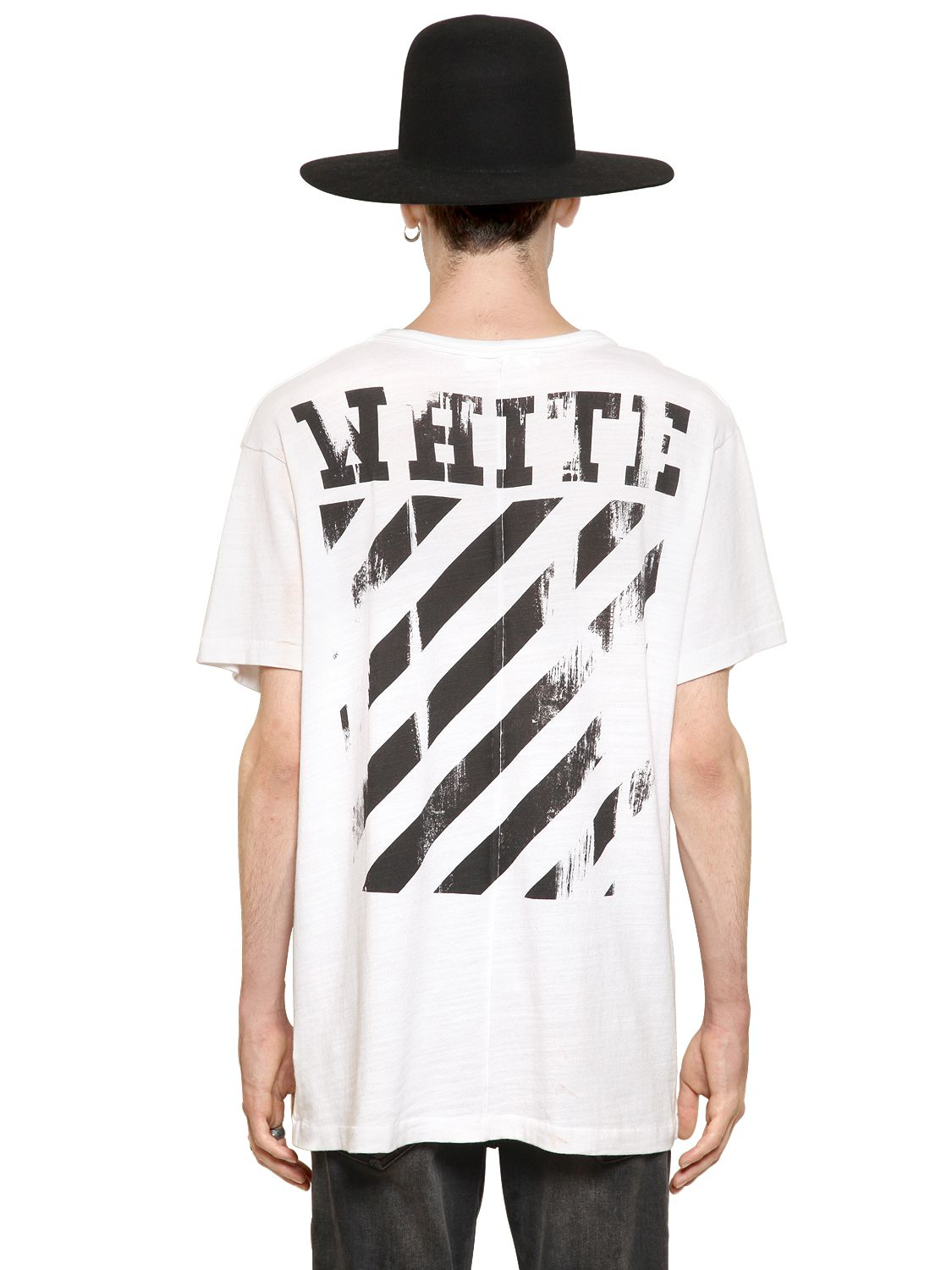 off white c o virgil abloh caravaggio annunciation jersey t shirt in white for men lyst. Black Bedroom Furniture Sets. Home Design Ideas