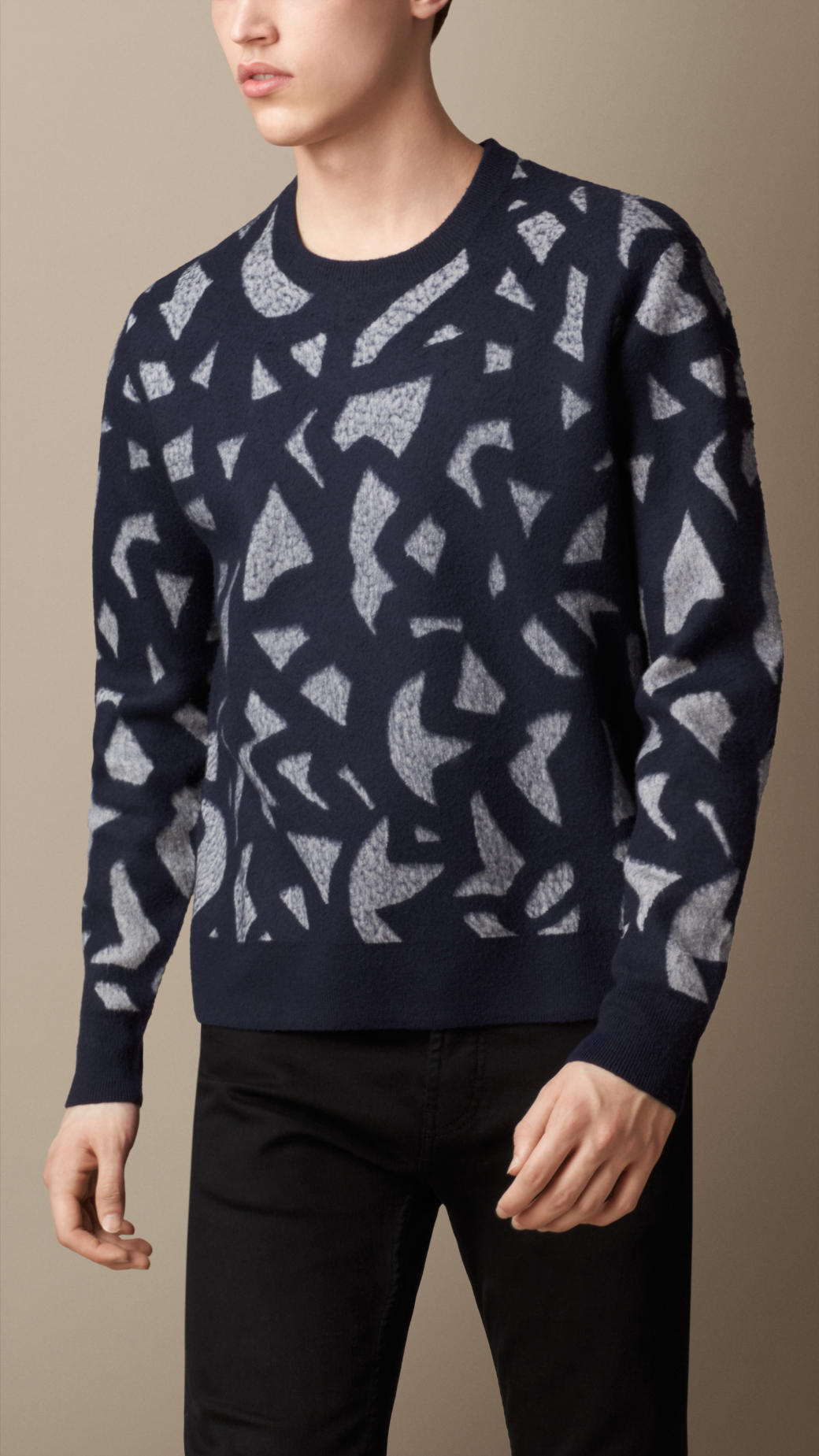 burberry geometric jacquard sweater in blue for men lyst. Black Bedroom Furniture Sets. Home Design Ideas