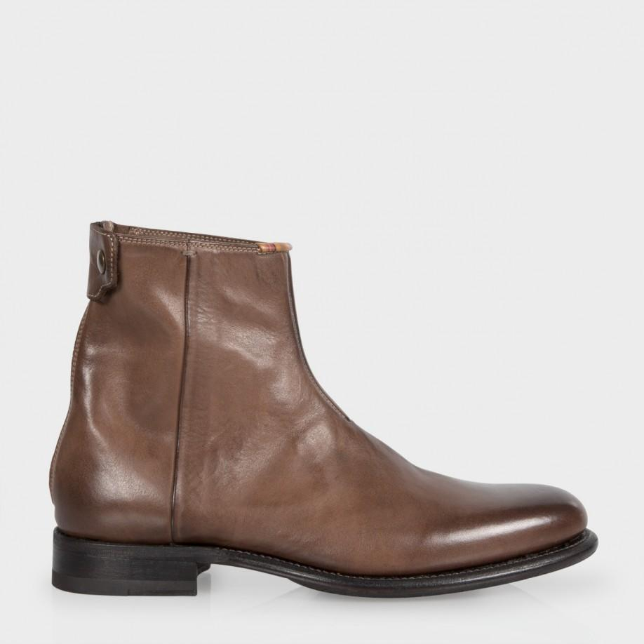 paul smith dip dyed brown leather claude boots with rubber