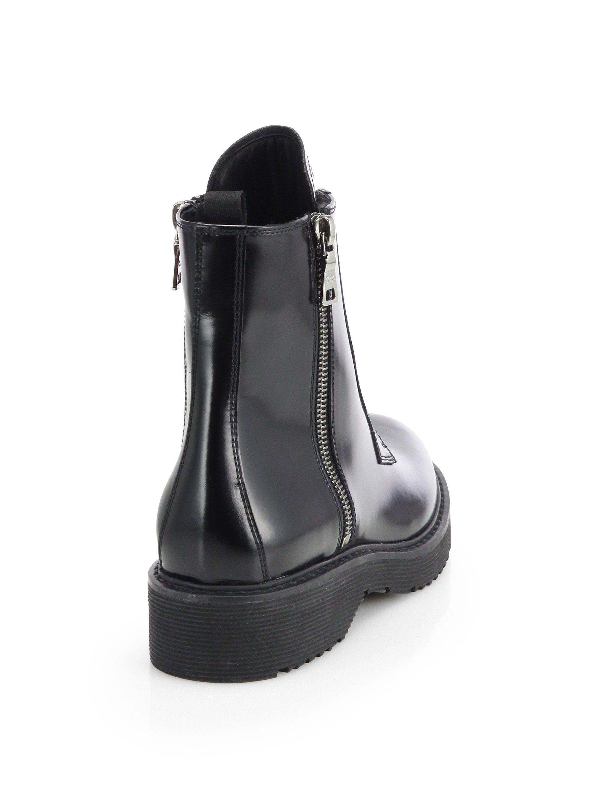 504ac2b4b31 Prada Black Patent Leather Laceup Combat Boots