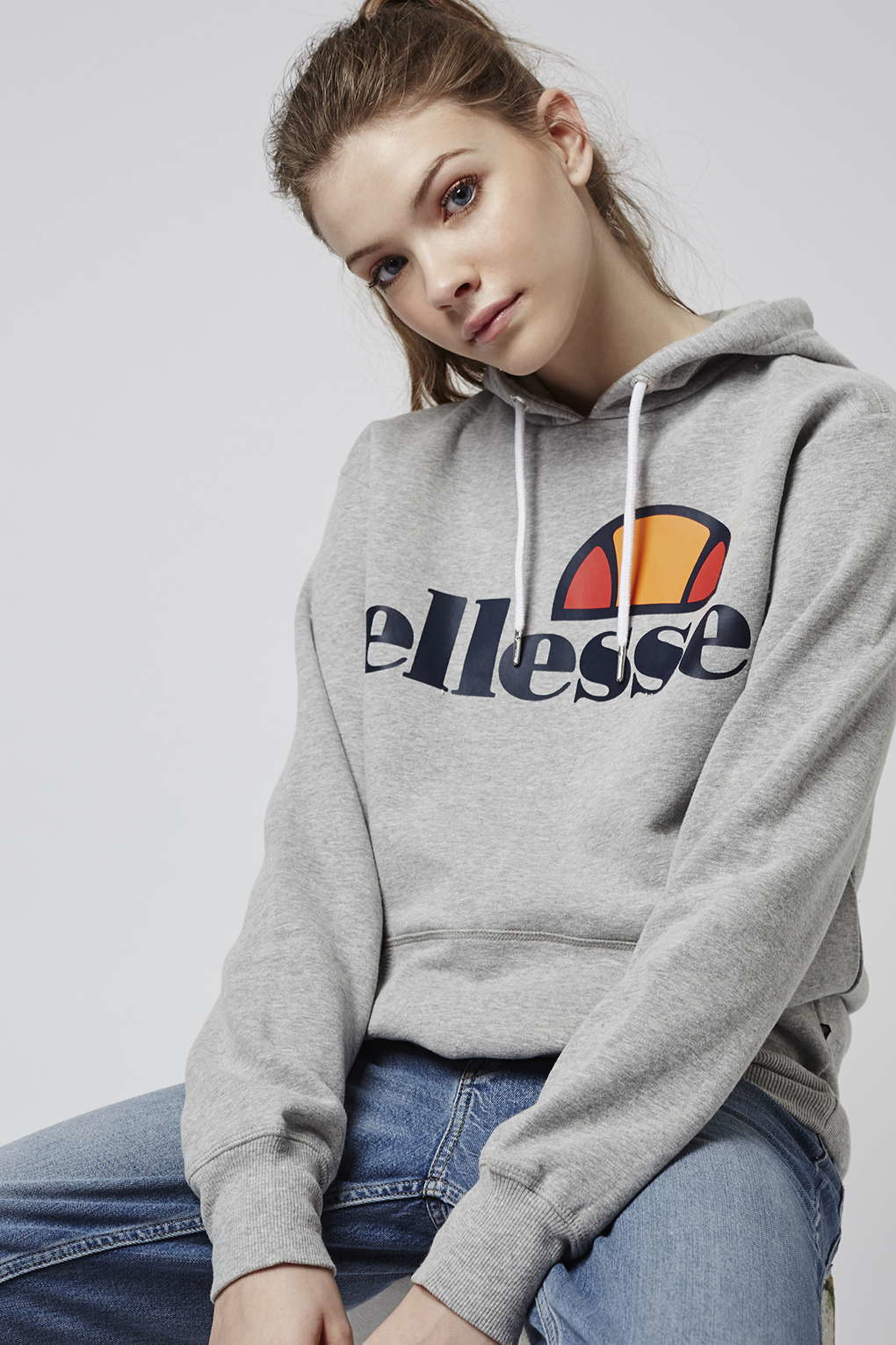 topshop oversized hoodie by ellesse in gray lyst. Black Bedroom Furniture Sets. Home Design Ideas
