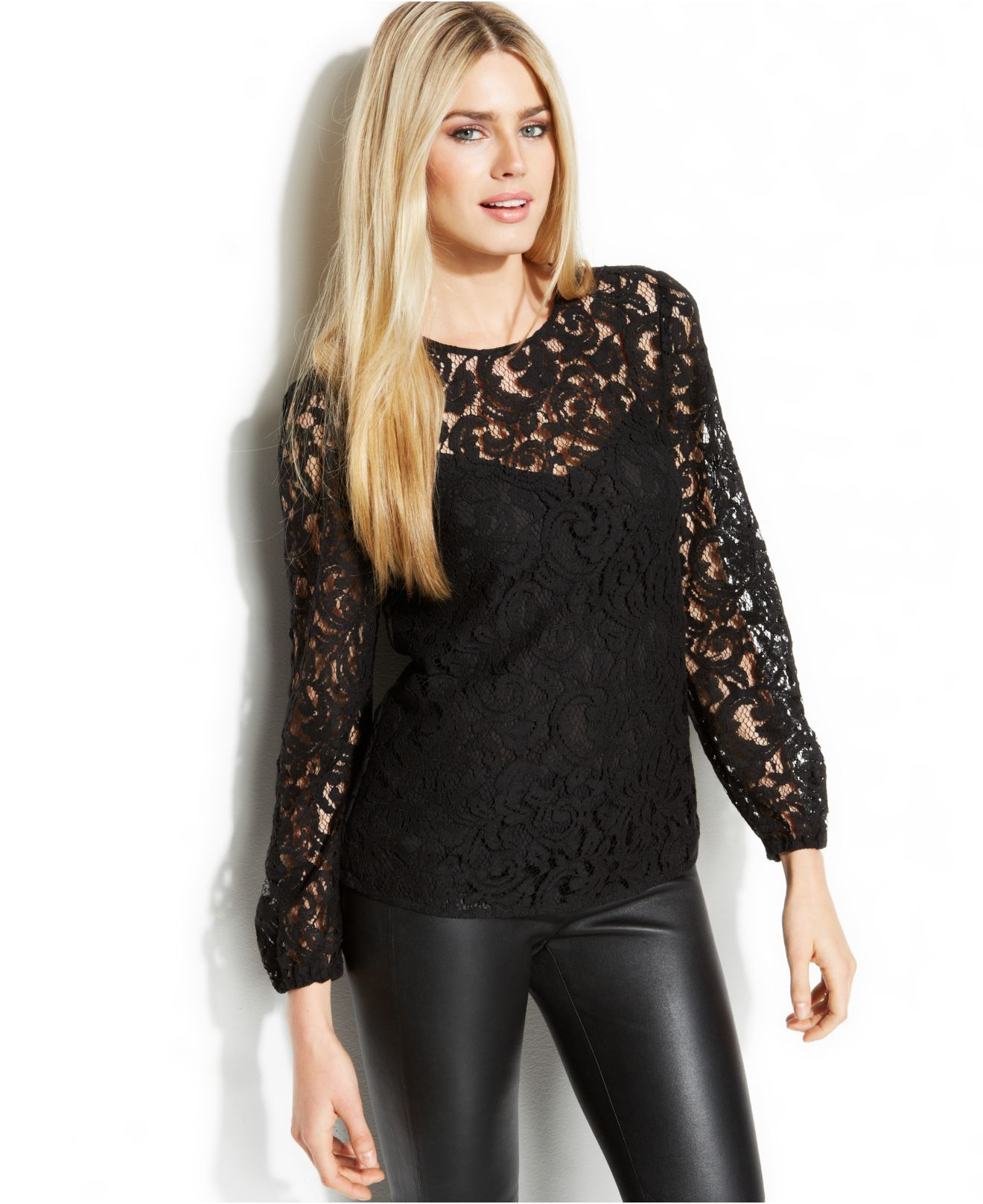 Michael Kors Michael Long Sleeve Illusion Lace Top In