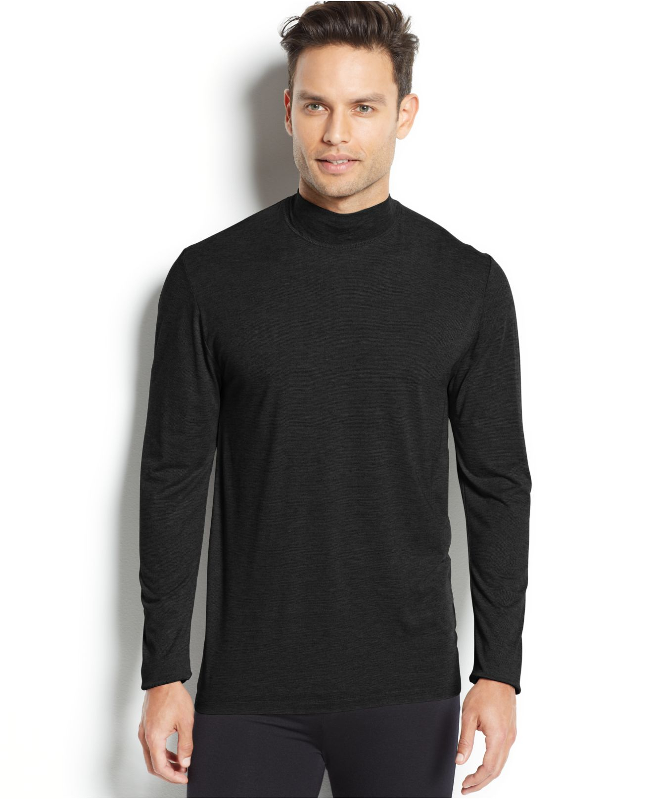 32 degrees heat mock neck turtle neck base layer in black for Mock crew neck shirts