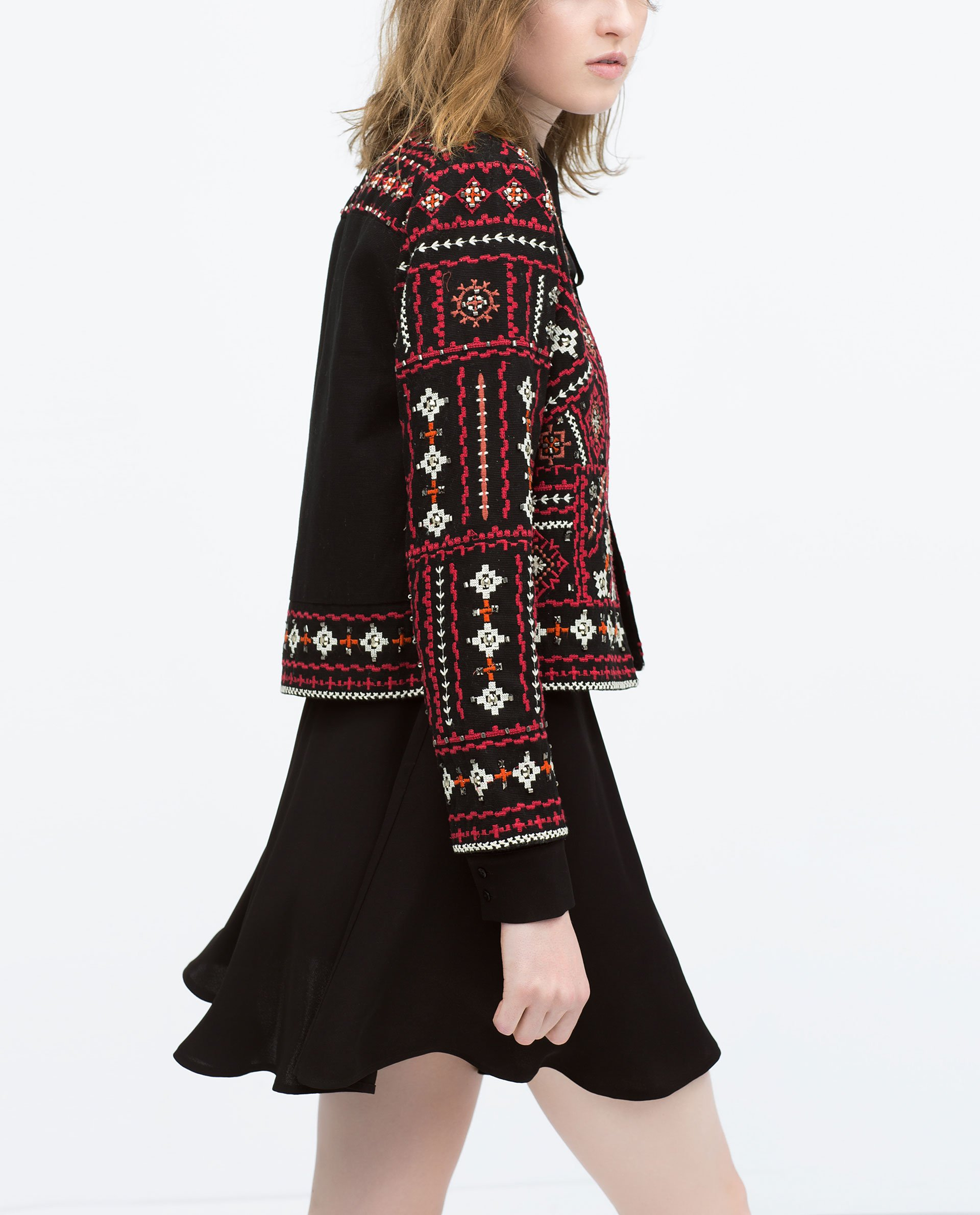 Zara ethnic embroidered jacket in black lyst