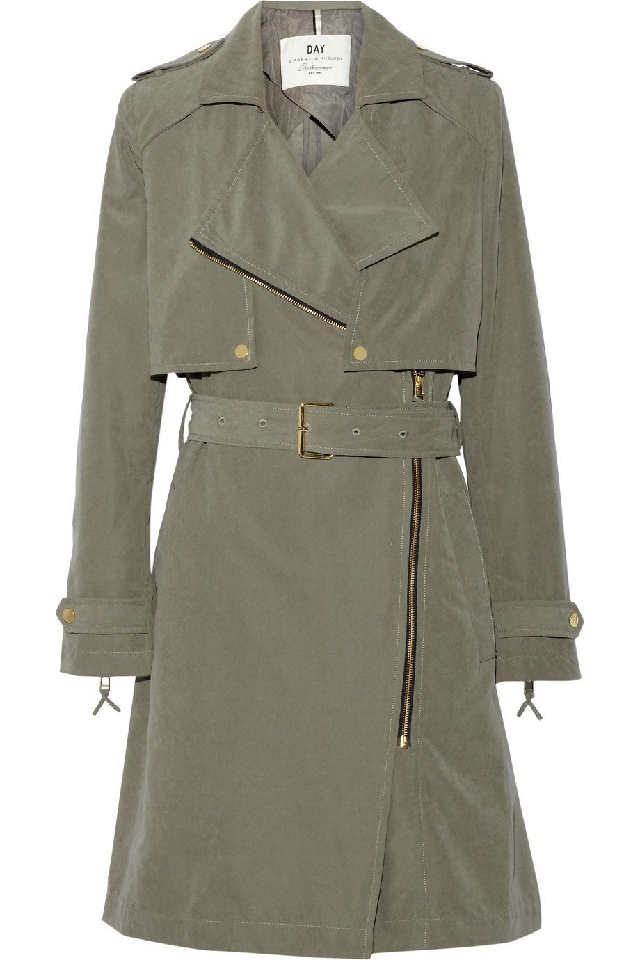 day birger et mikkelsen day go brushed twill trench coat in gray lyst. Black Bedroom Furniture Sets. Home Design Ideas