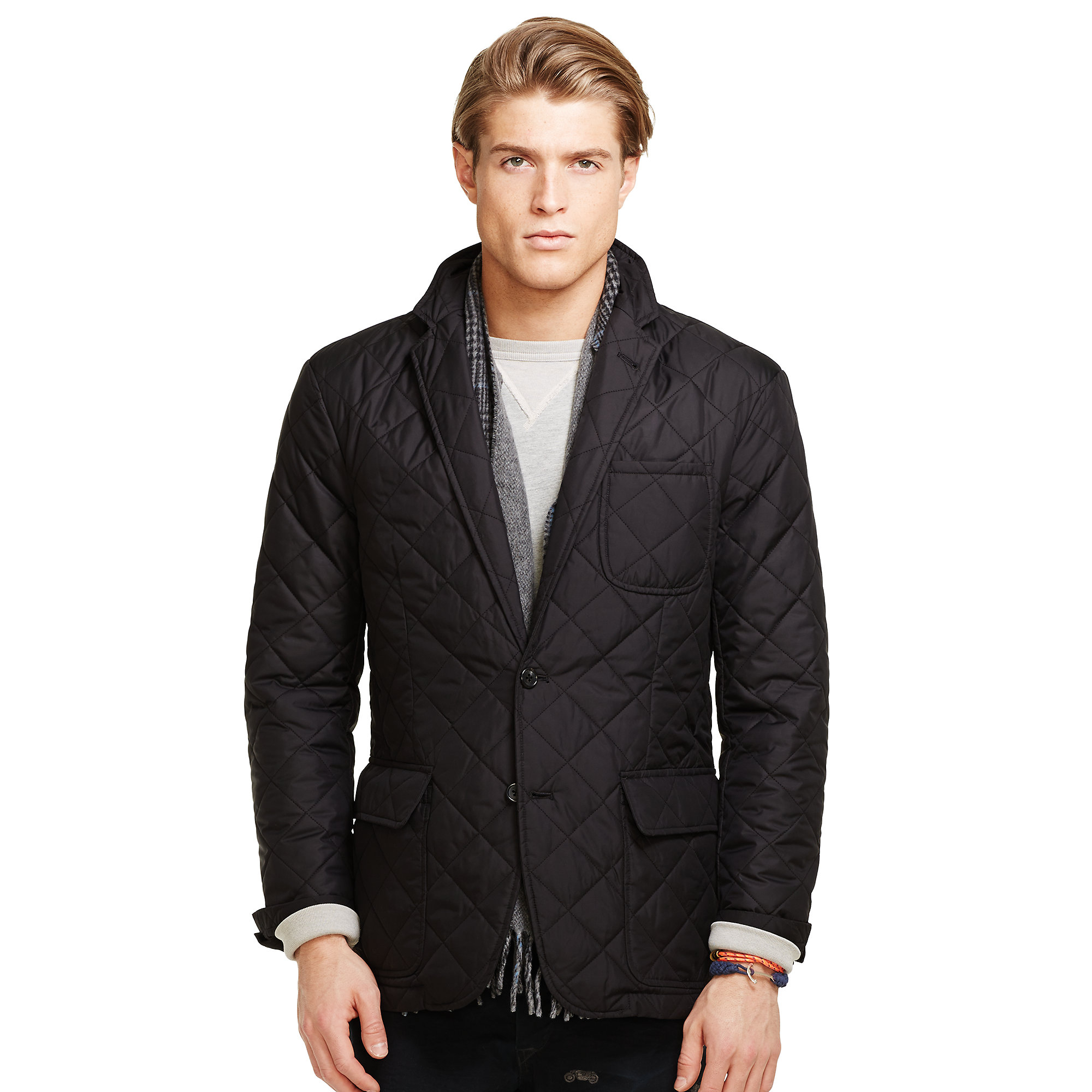Polo ralph lauren quilted sport coat in black for men lyst for Polo shirt with sport coat