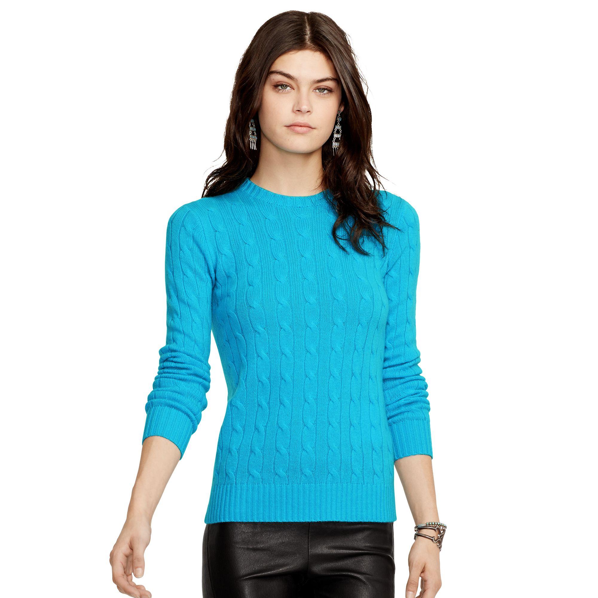 polo ralph lauren slim fit cabled cashmere in blue liquid. Black Bedroom Furniture Sets. Home Design Ideas