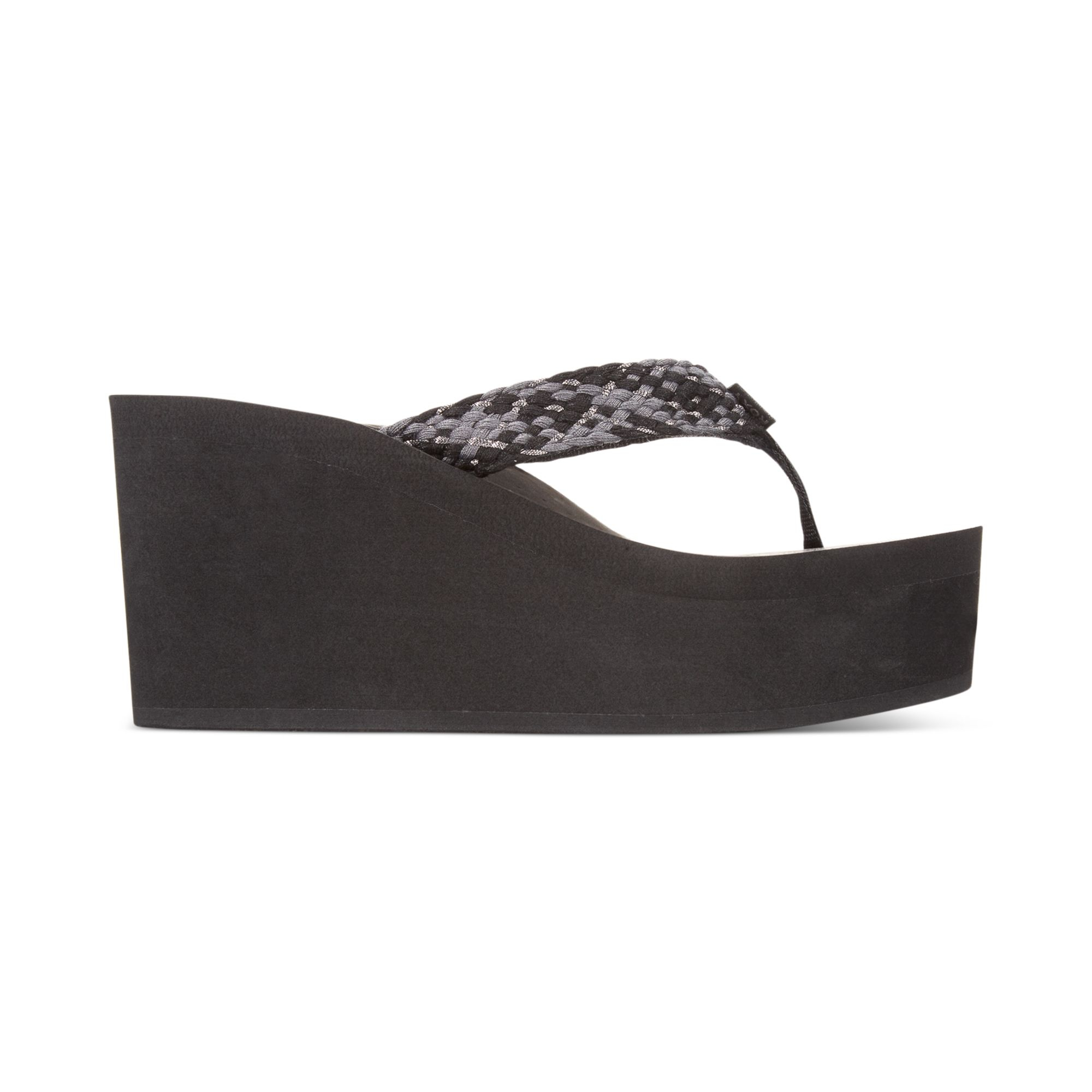 Roxy Palika Platform Wedge Flip Flops In Black - Lyst-8392