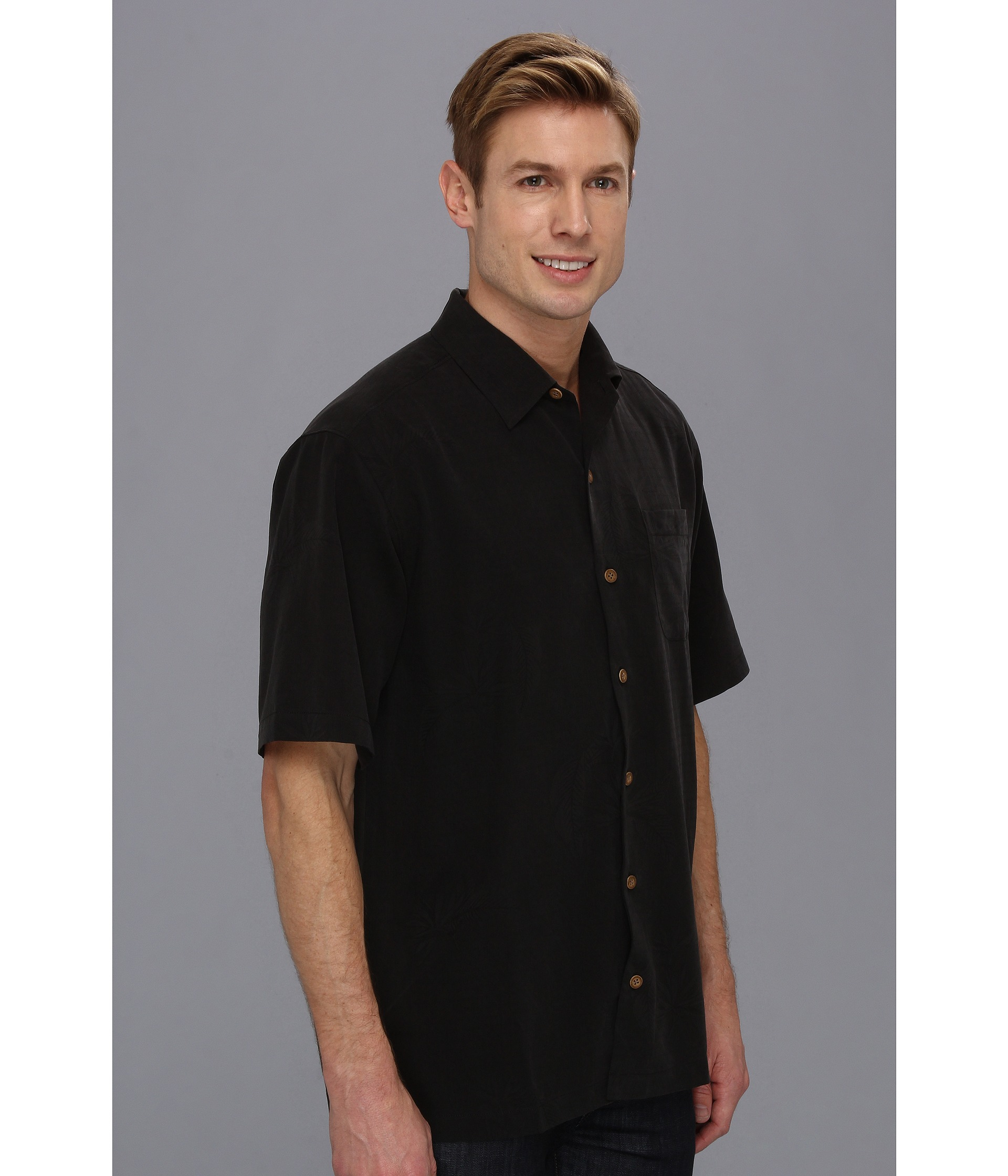 Tommy bahama days of our wines camp shirt in black for men for Tommy bahama christmas shirt 2014