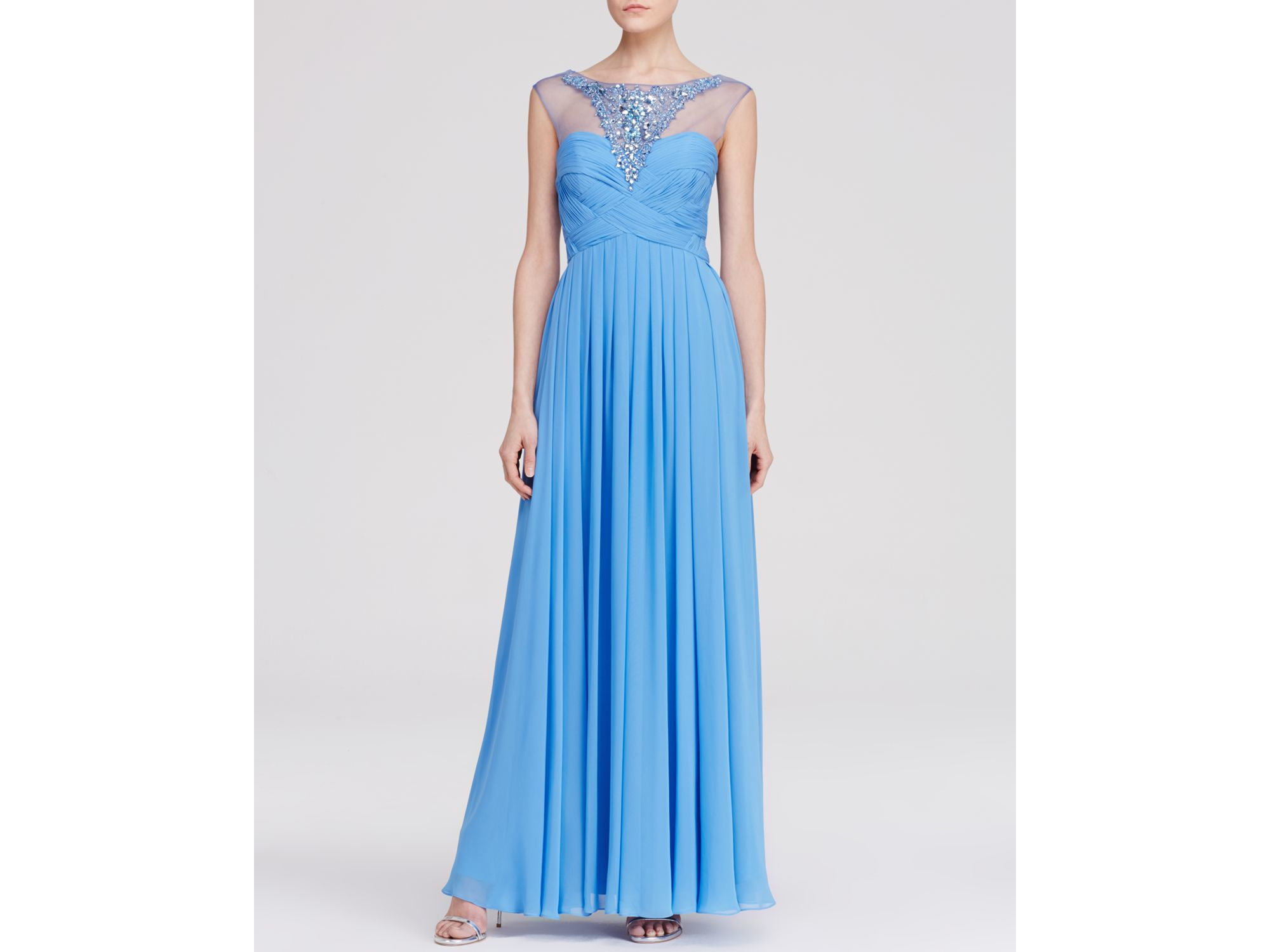 Lyst - Js Collections Gown - Embellished Yoke Chiffon in Blue
