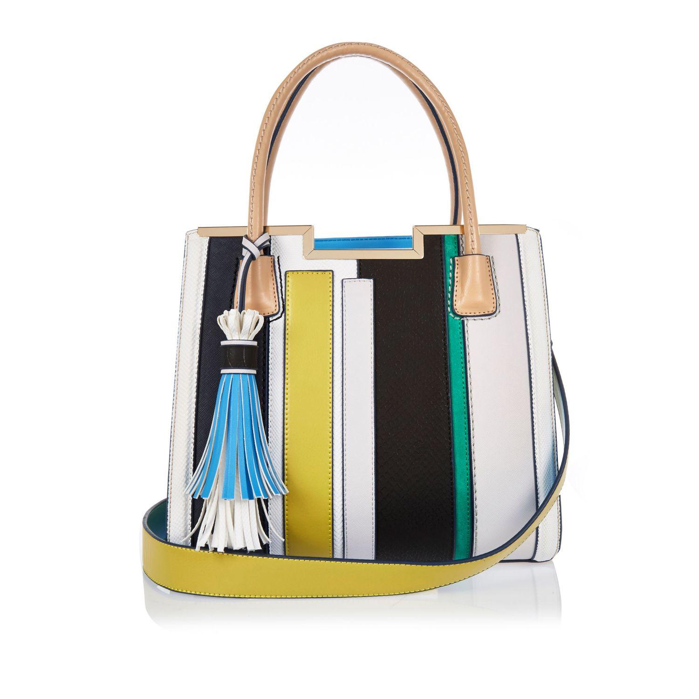 River Island Blue Stripe Tote Handbag