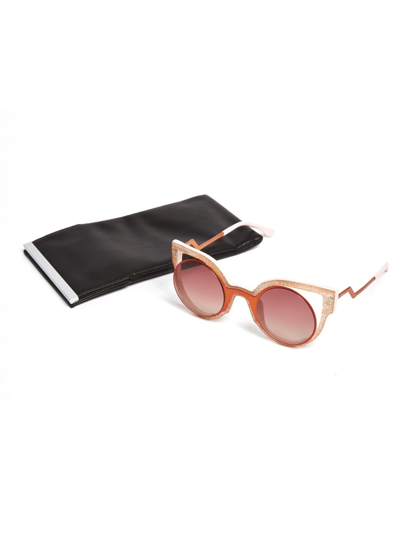 e16d4a6d226b Fendi Glitter Round-framed Sunglasses in Pink - Lyst