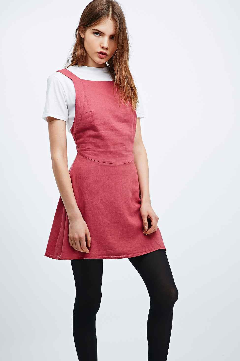 d2b8e48b3fea Kimchi Blue Bethany Linen Apron Dress in Pink - Lyst