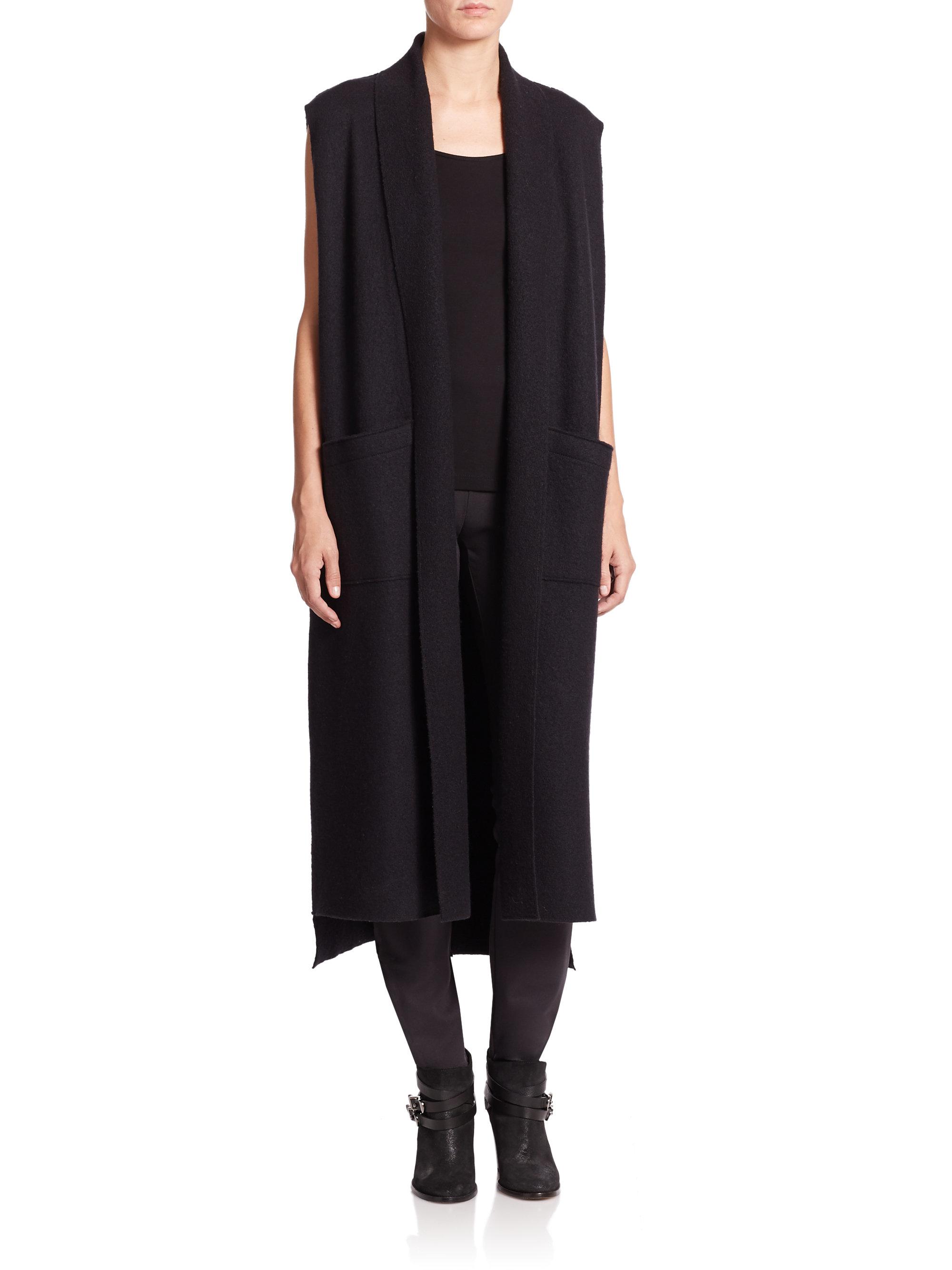 Lyst Eileen Fisher Long Sleeveless Boil Wool Kimono Vest