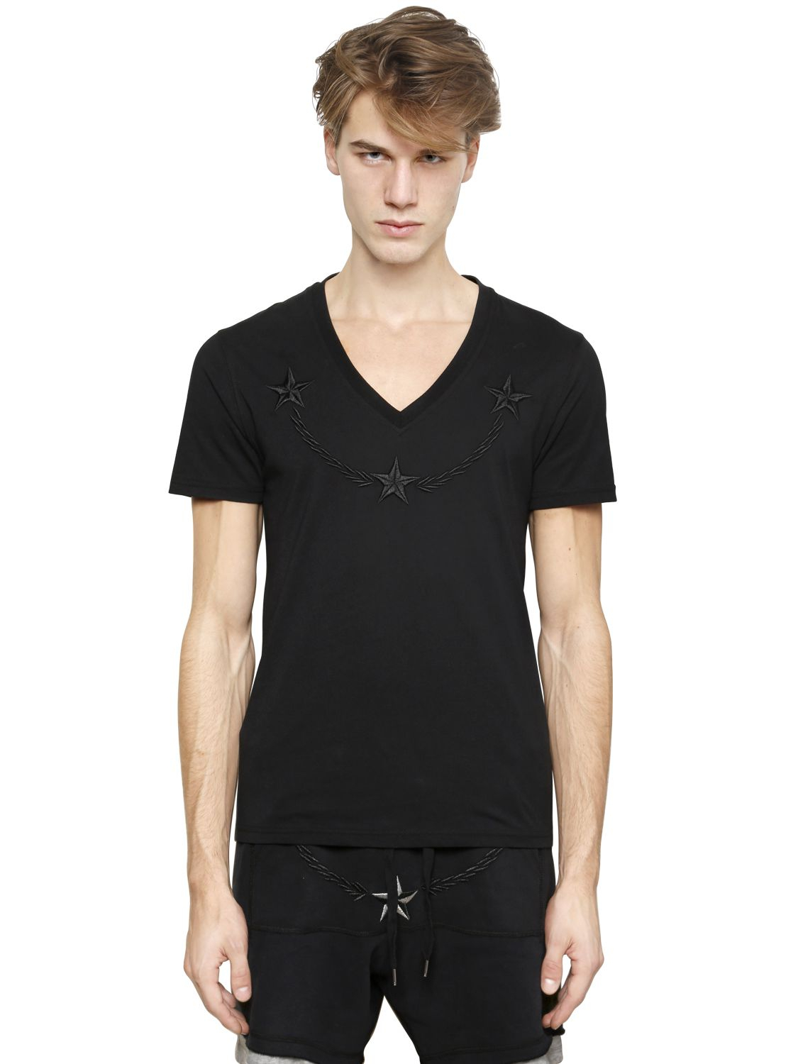 lyst philipp plein embroidered cotton t shirt in black. Black Bedroom Furniture Sets. Home Design Ideas