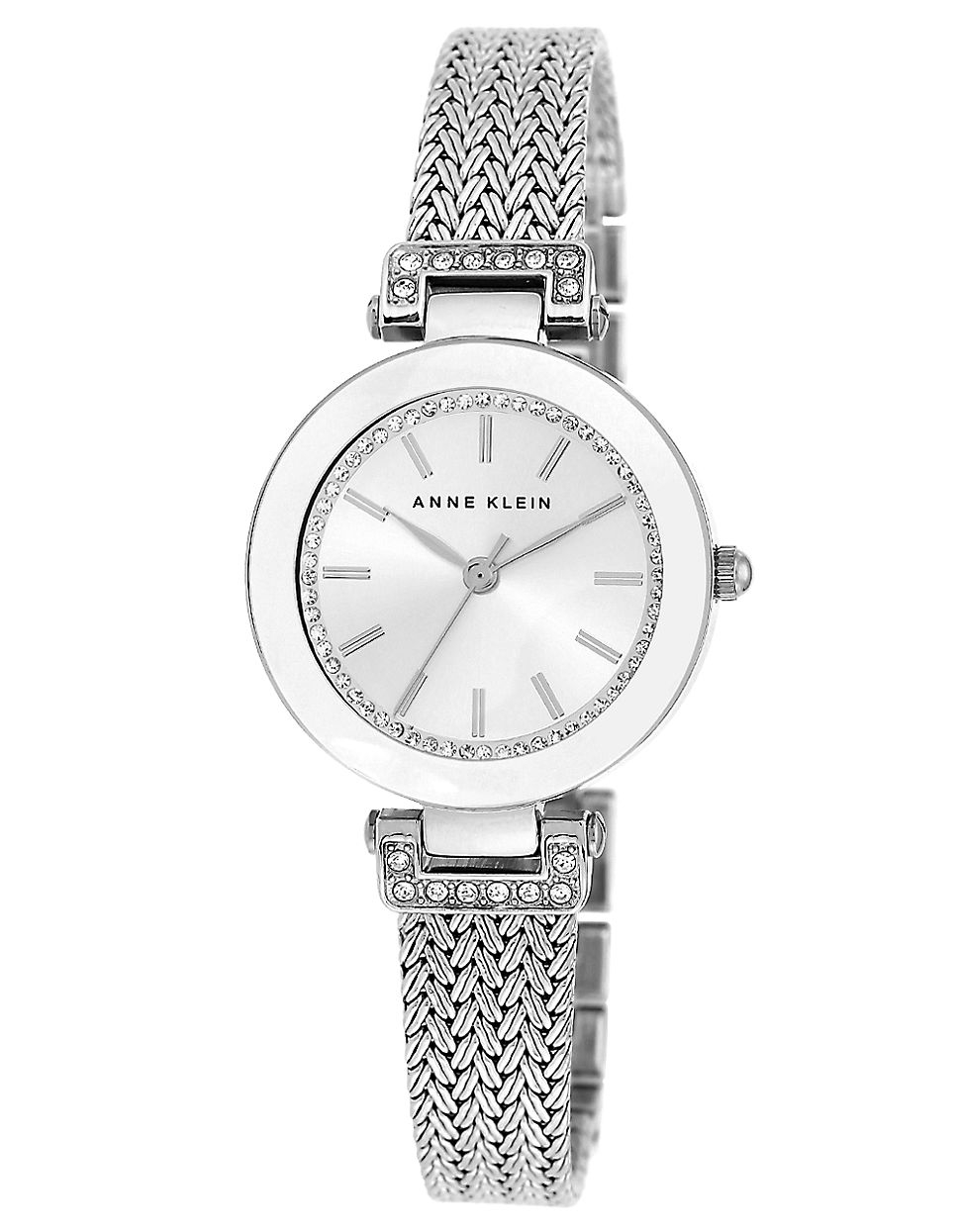 Lyst anne klein ladies silvertone and swarovski crystal braided bracelet watch in metallic for Swarovski crystals watch