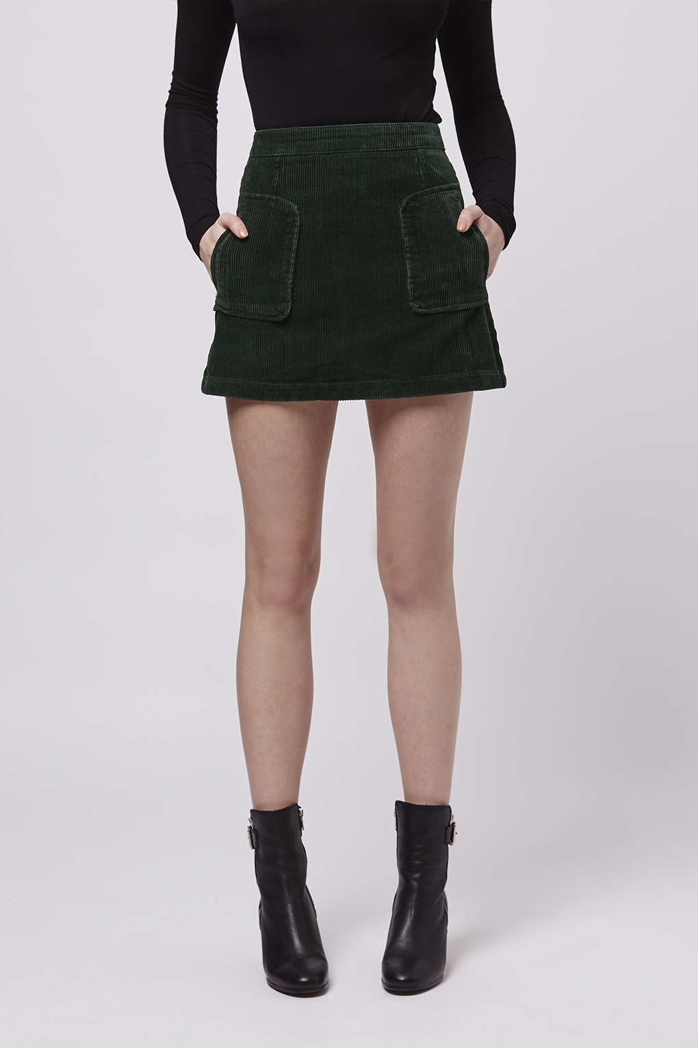 37070c2d1b0b TOPSHOP Patch Pocket Cord A-line Skirt in Green - Lyst
