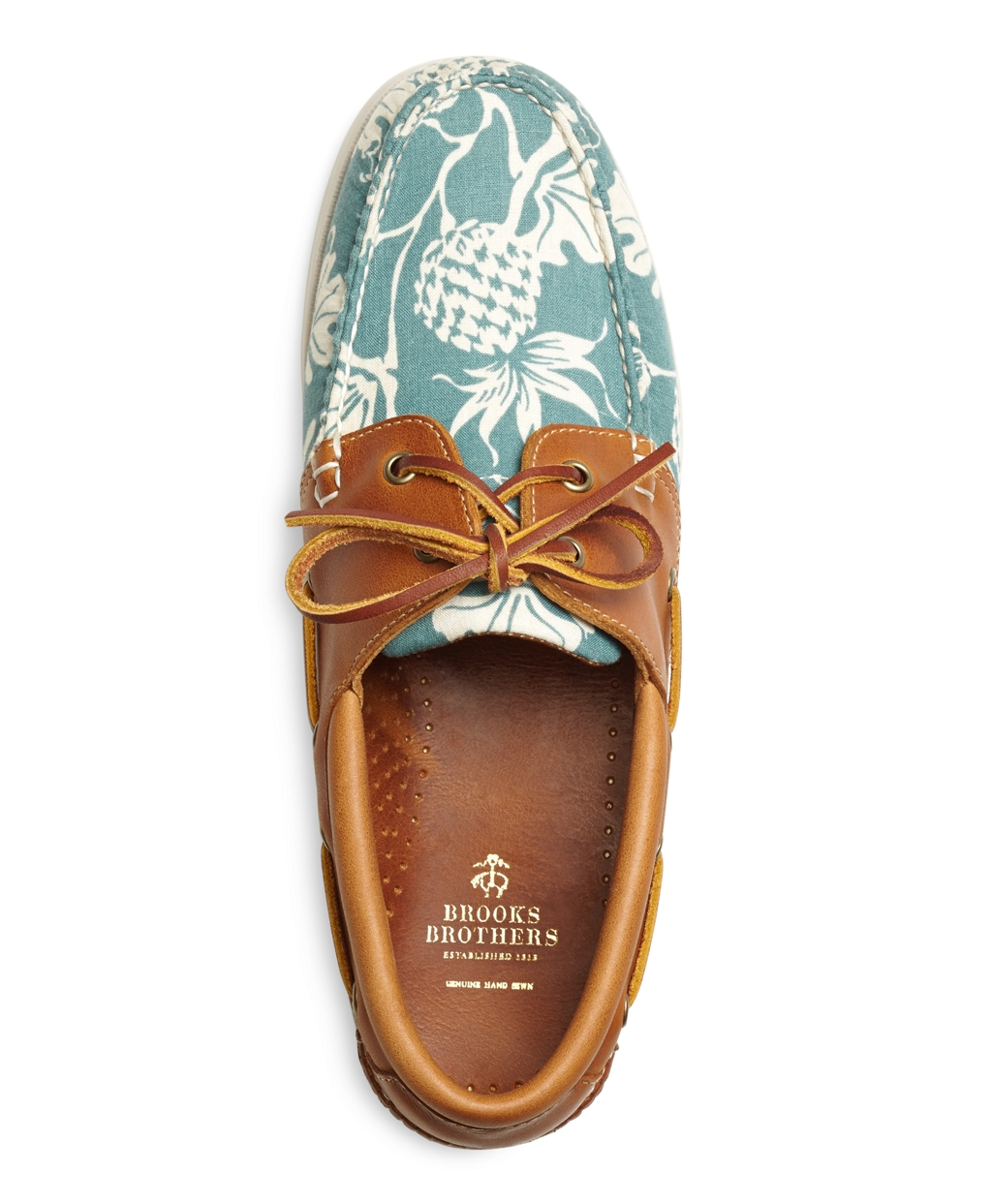 41f5295e0ed Lyst - Brooks Brothers Pineapple Print Boat Shoes in Blue for Men
