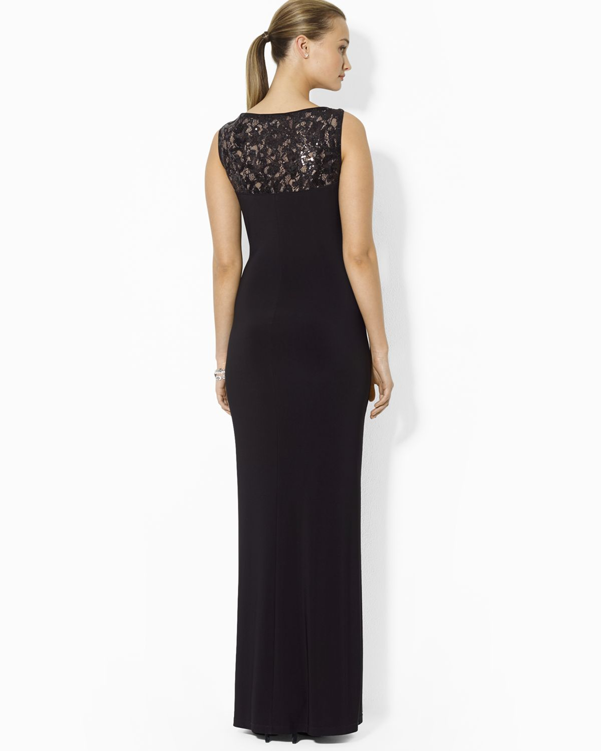 Lyst - Ralph Lauren Lauren Gown V Neck Sequin Lace Inset Jersey in Black