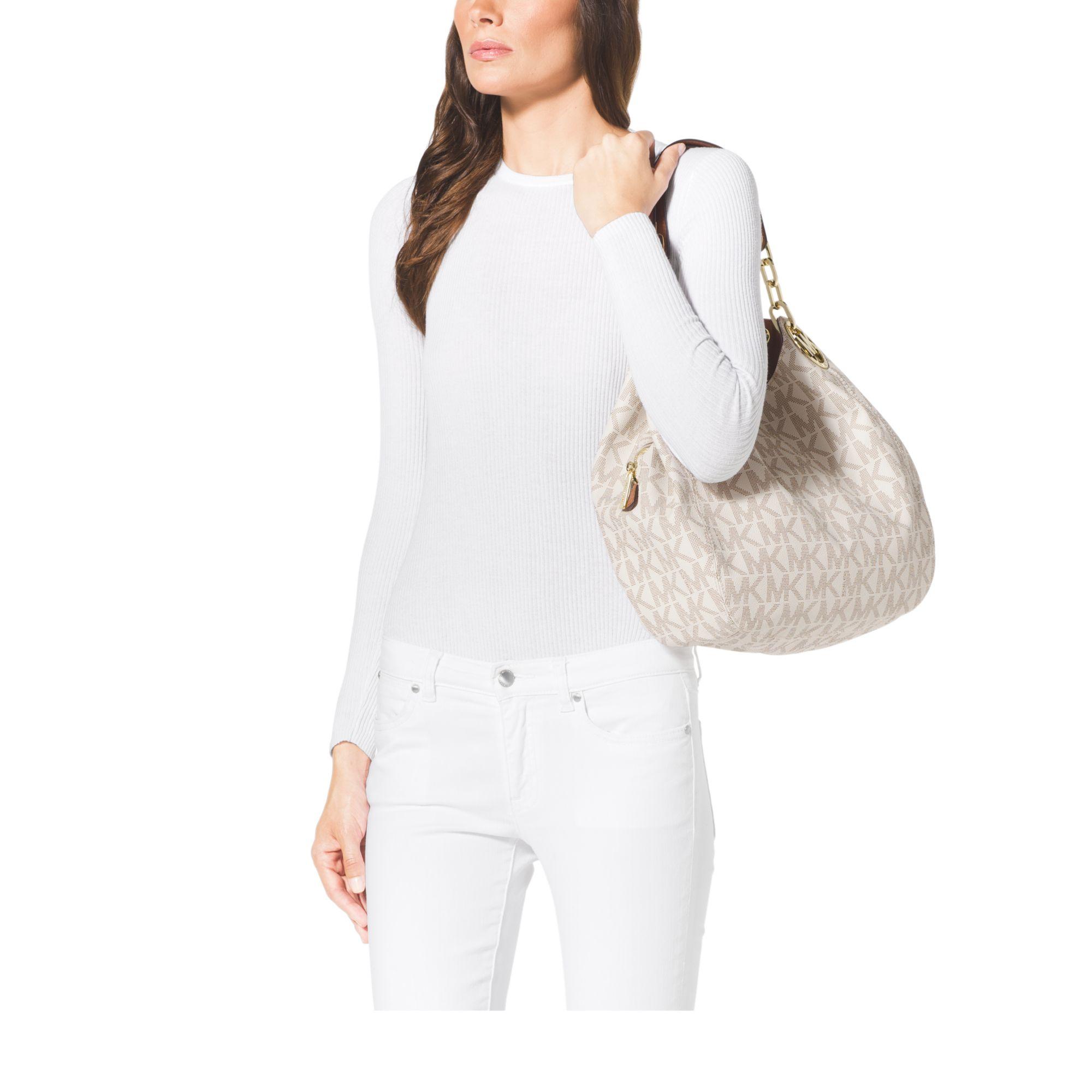 b2a8f252cf45c8 Michael Kors Fulton Large Logo Shoulder Bag in White - Lyst