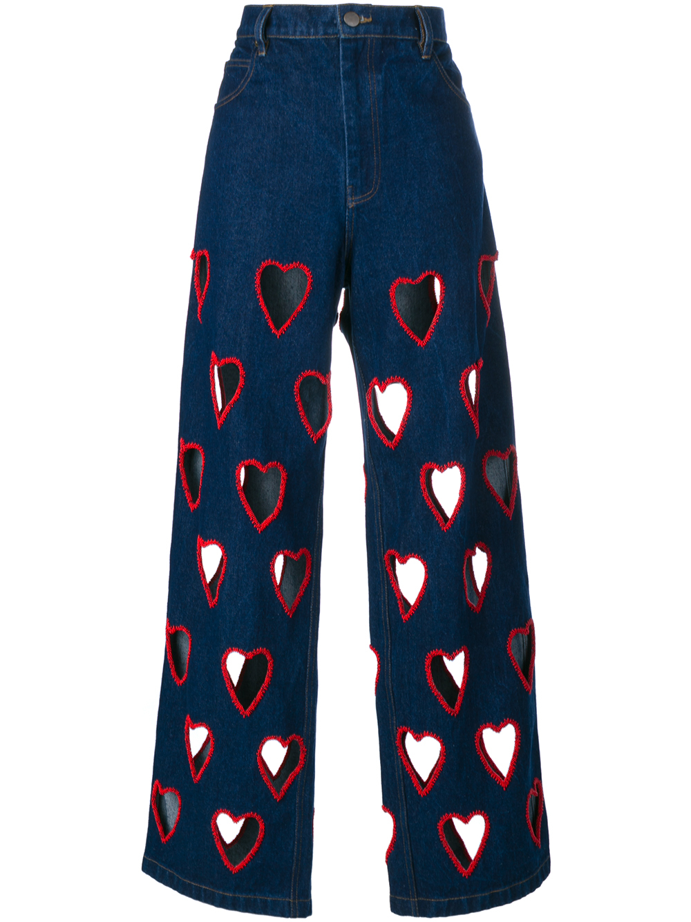 Ashish Cut-out Heart Flared Jeans in Blue