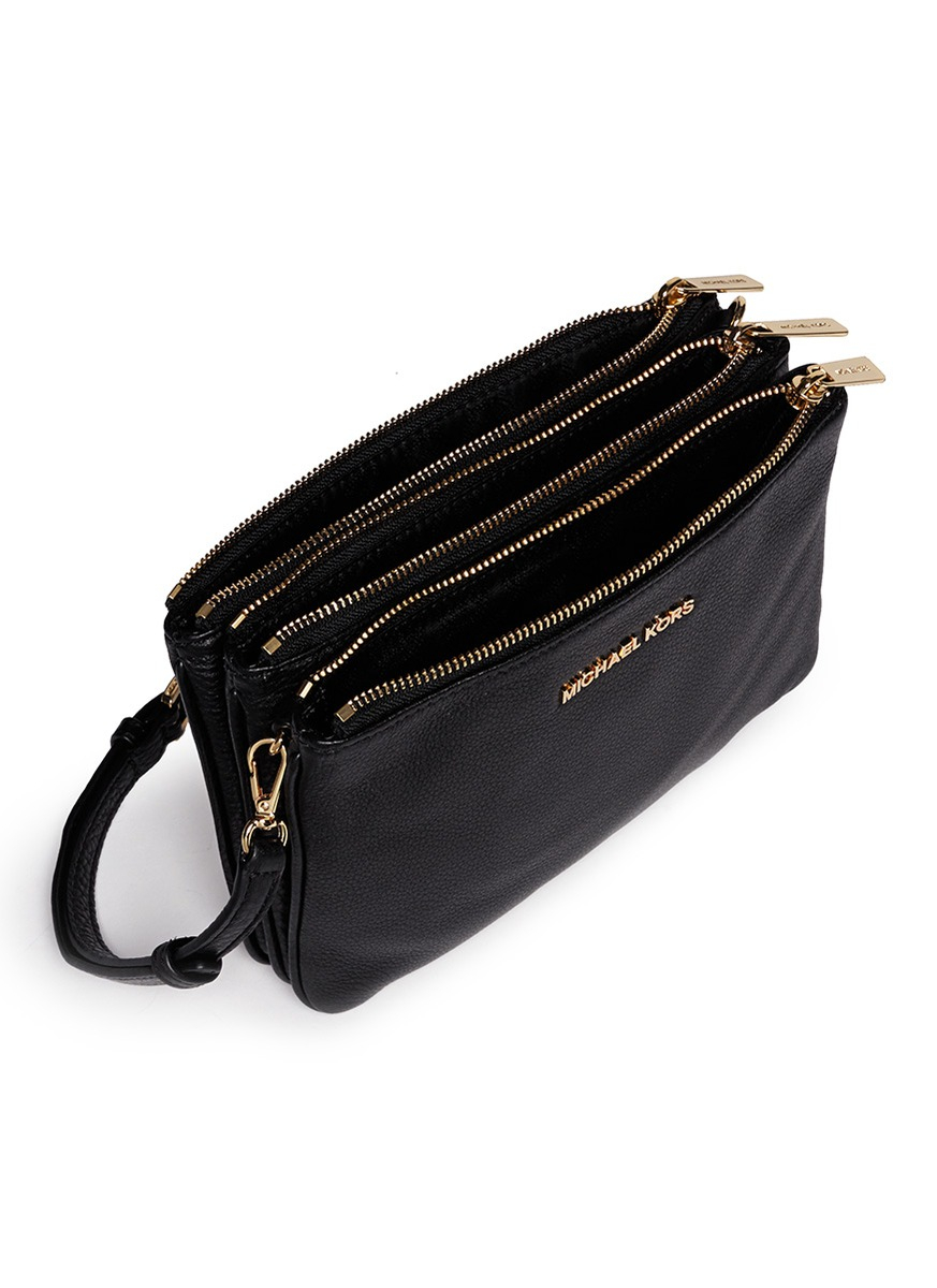 michael kors bedford gusset crossbody bag black burke leather totes. Black Bedroom Furniture Sets. Home Design Ideas
