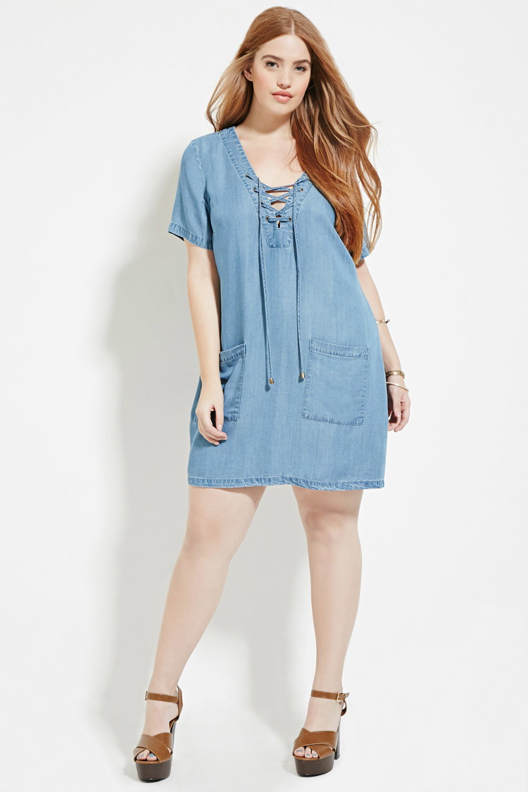 Forever 21 Plus Size Lace Up Denim Dress You Ve Been Added