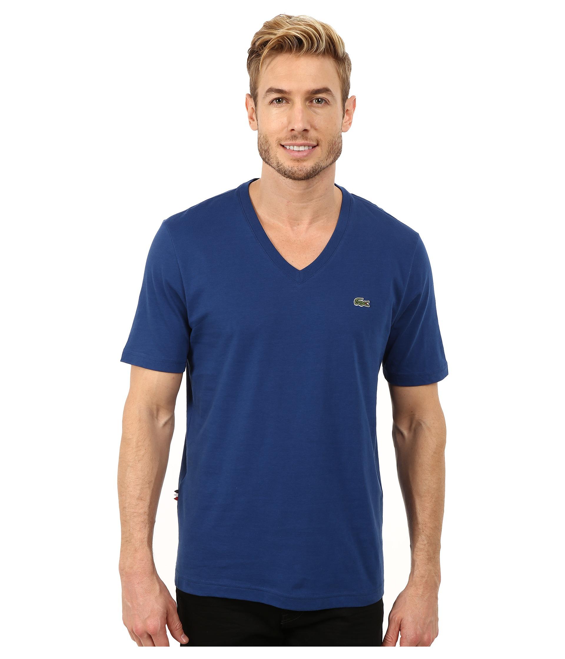 lyst lacoste l ve short sleeve v neck tee shirt in blue. Black Bedroom Furniture Sets. Home Design Ideas