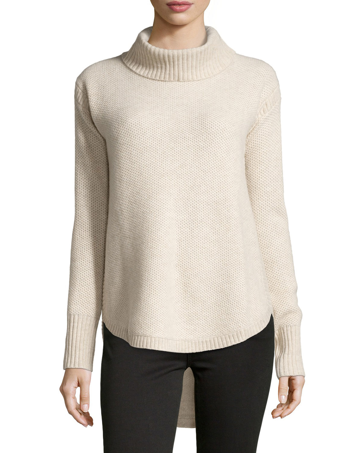 neiman marcus cashmere turtleneck pullover sweater in. Black Bedroom Furniture Sets. Home Design Ideas