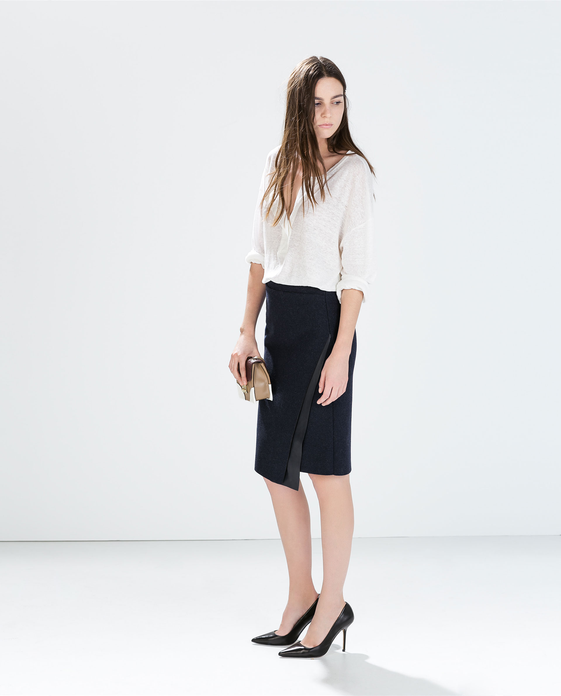 zara skirt with faux leather applique in blue lyst