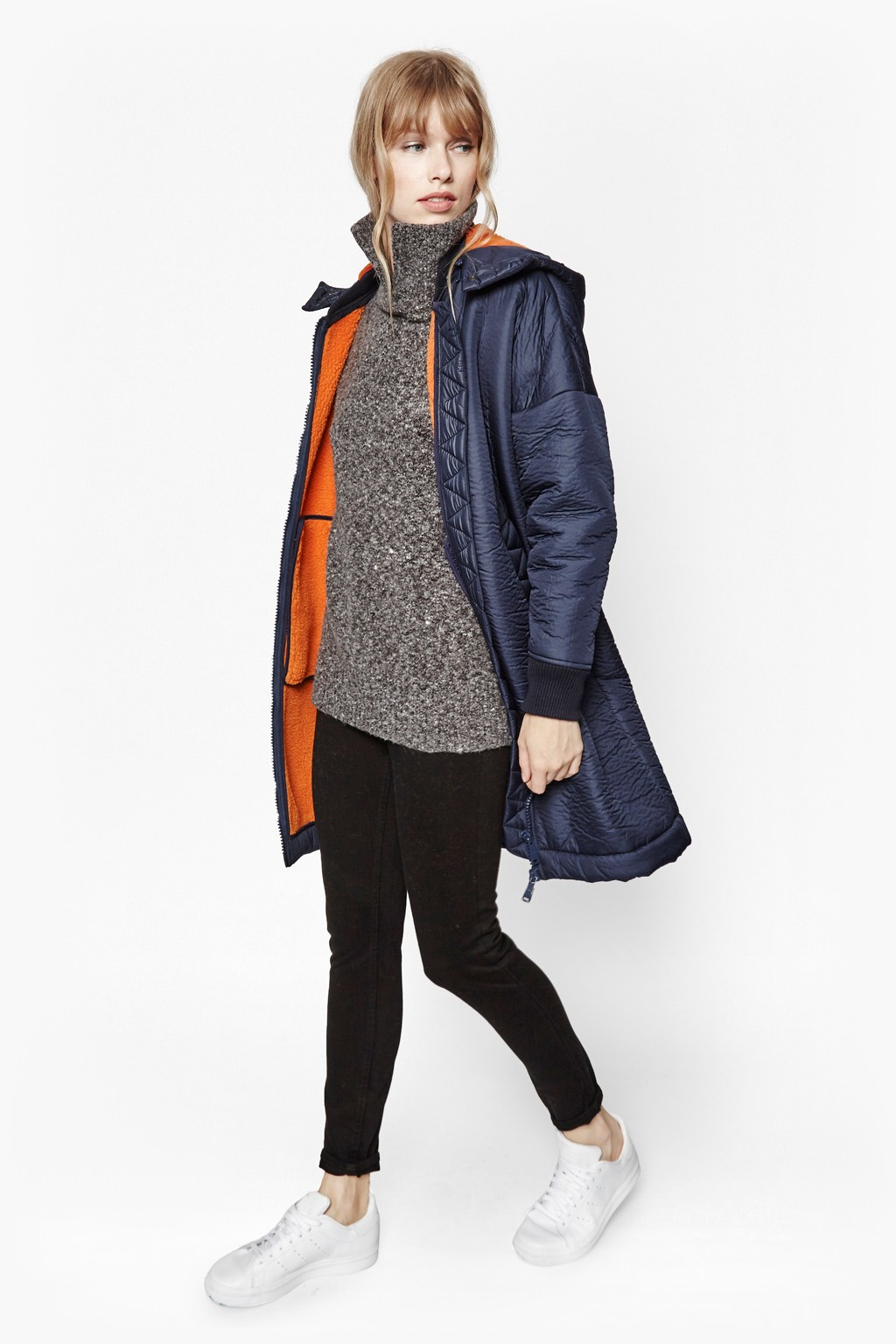 French Connection Drummer Hooded Zip Coat In Blue Lyst