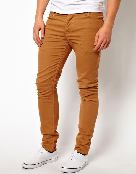 Asos Skinny Jeans in Brown for Men (Tan) | Lyst