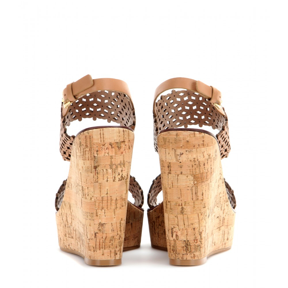 Tory Burch Floral Leather Wedges In Natural Lyst